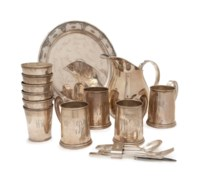 A GROUP OF AMERICAN SILVER DRINKWARES AND A DANISH SILVER PART FLATWARE SERVICE,
