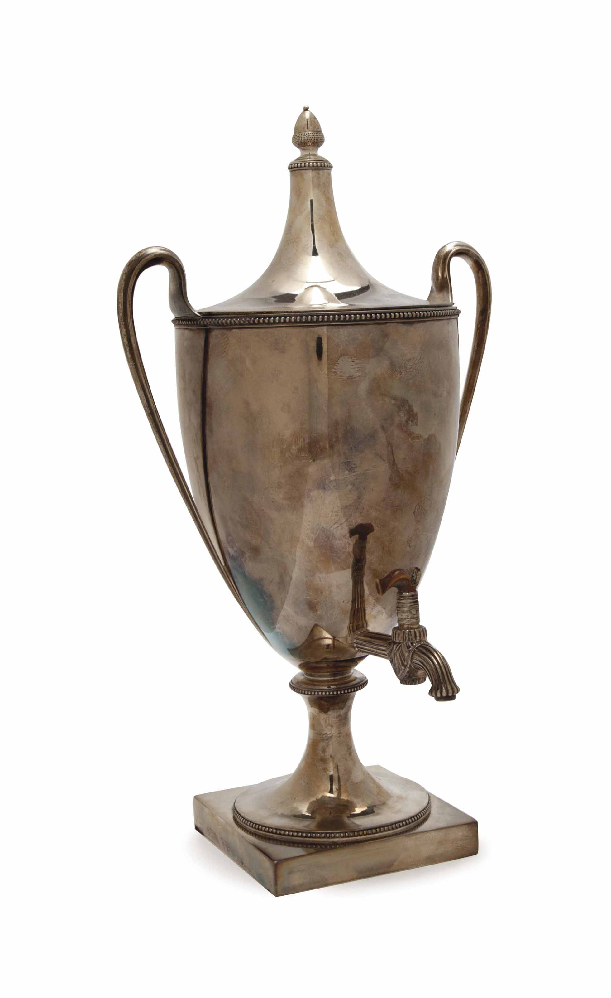 A GEORGE III HOT WATER URN AND