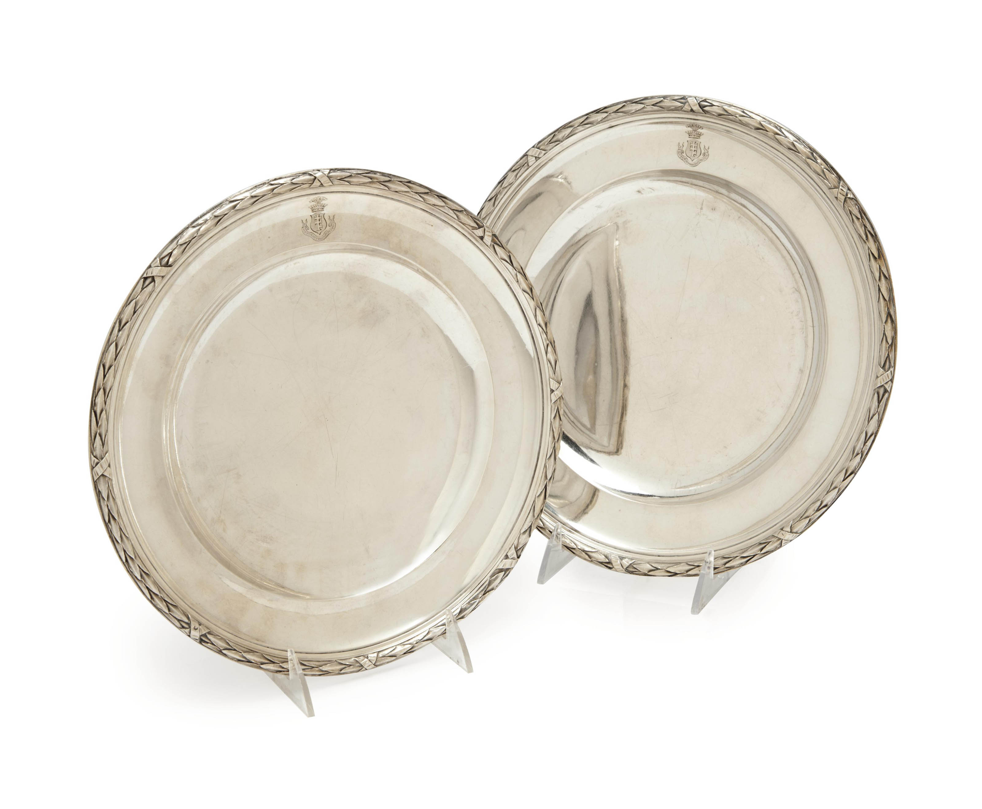 A PAIR OF FRENCH SILVER PLATES