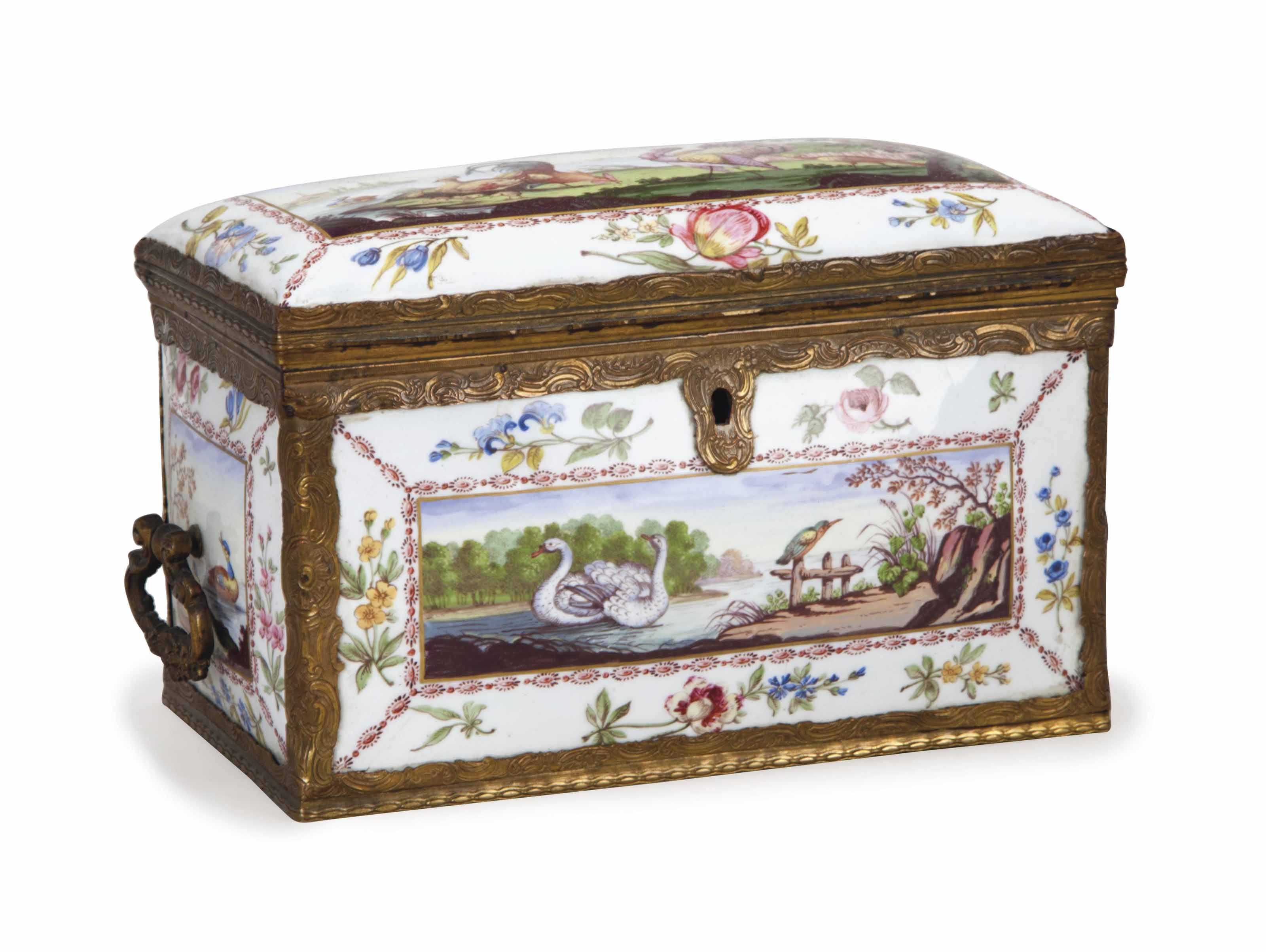 A FRENCH ENAMELED AND GILT-MET