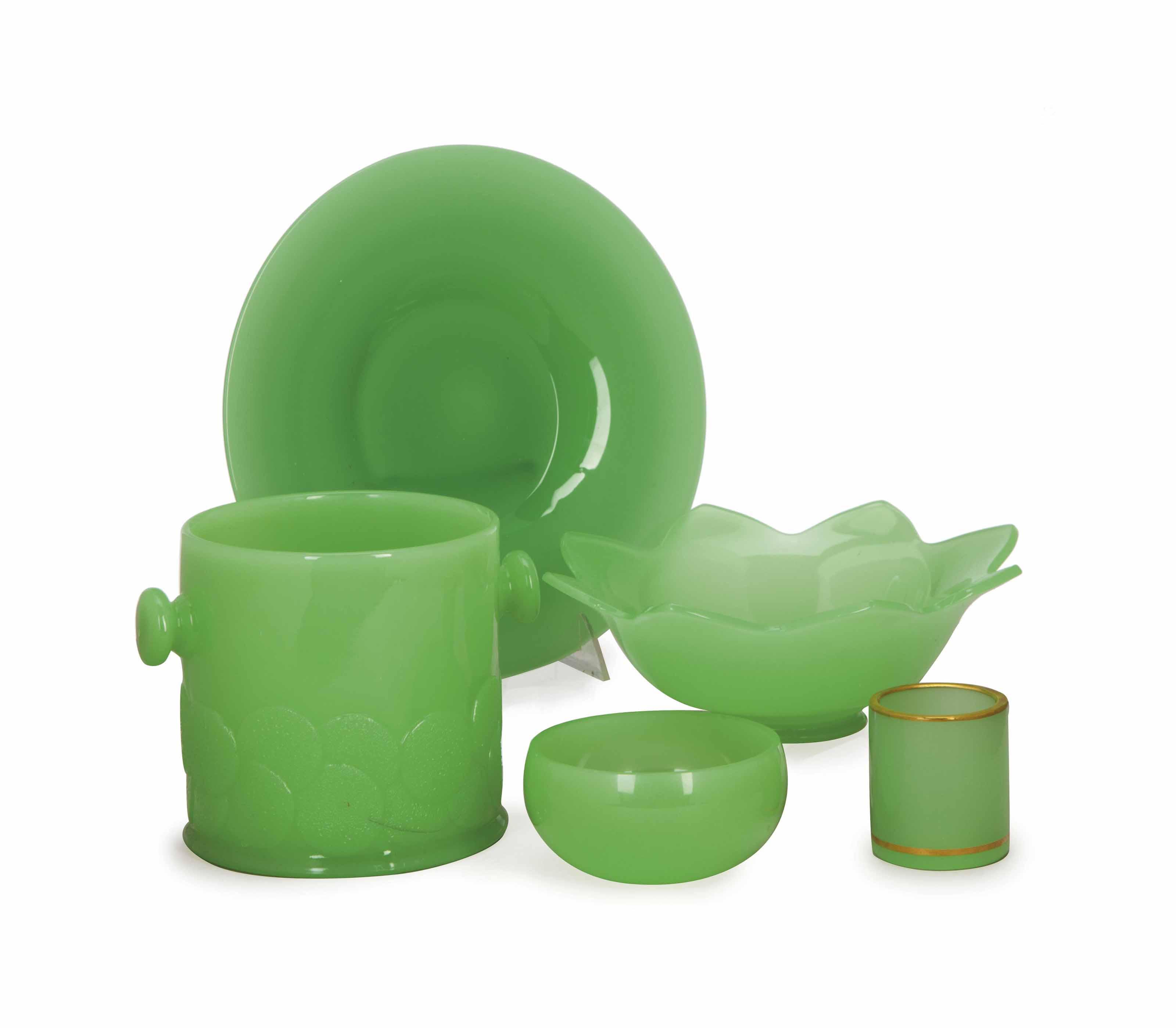 A GROUP OF GREEN OPALINE GLASS