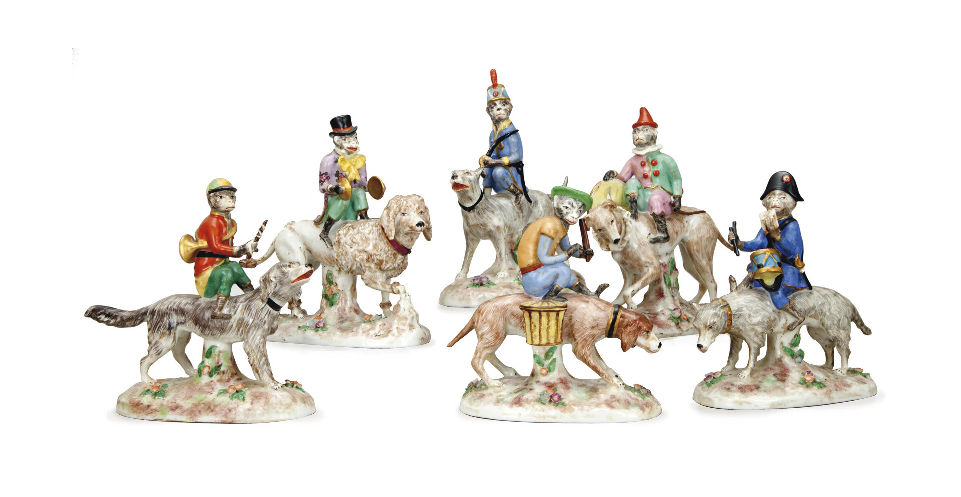 SIX CONTINENTAL PORCELAIN FIGU