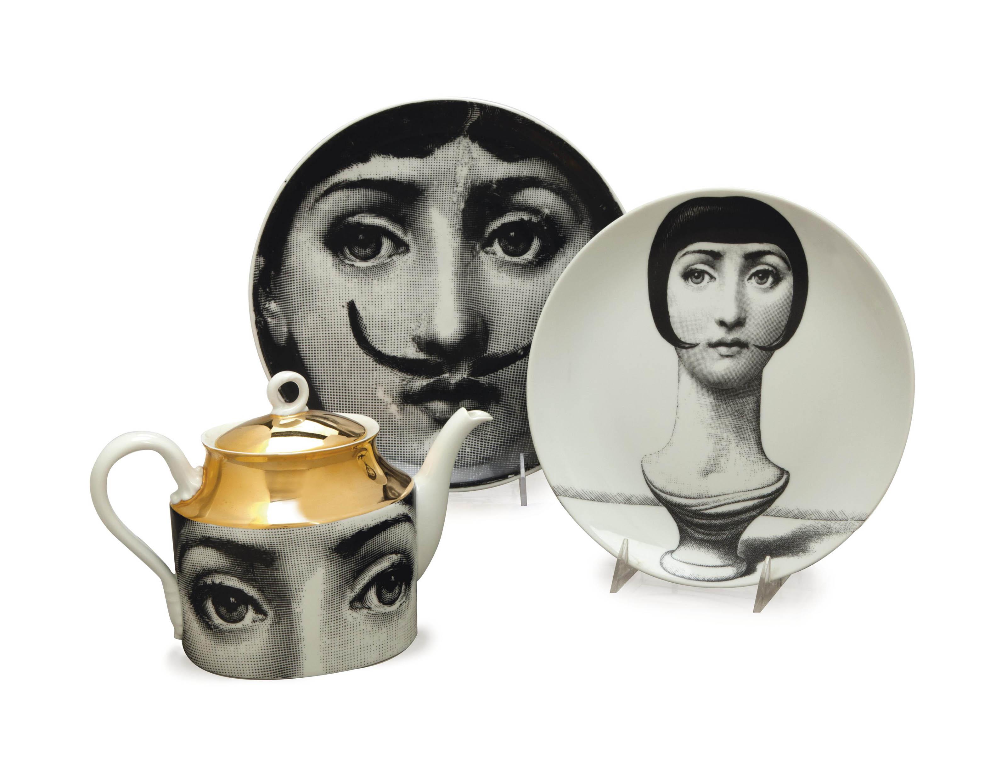 AN ASSEMBLED ITALIAN PORCELAIN FORNASETTI DESIGNED 'JULIA' PART TABLE SERVICE,