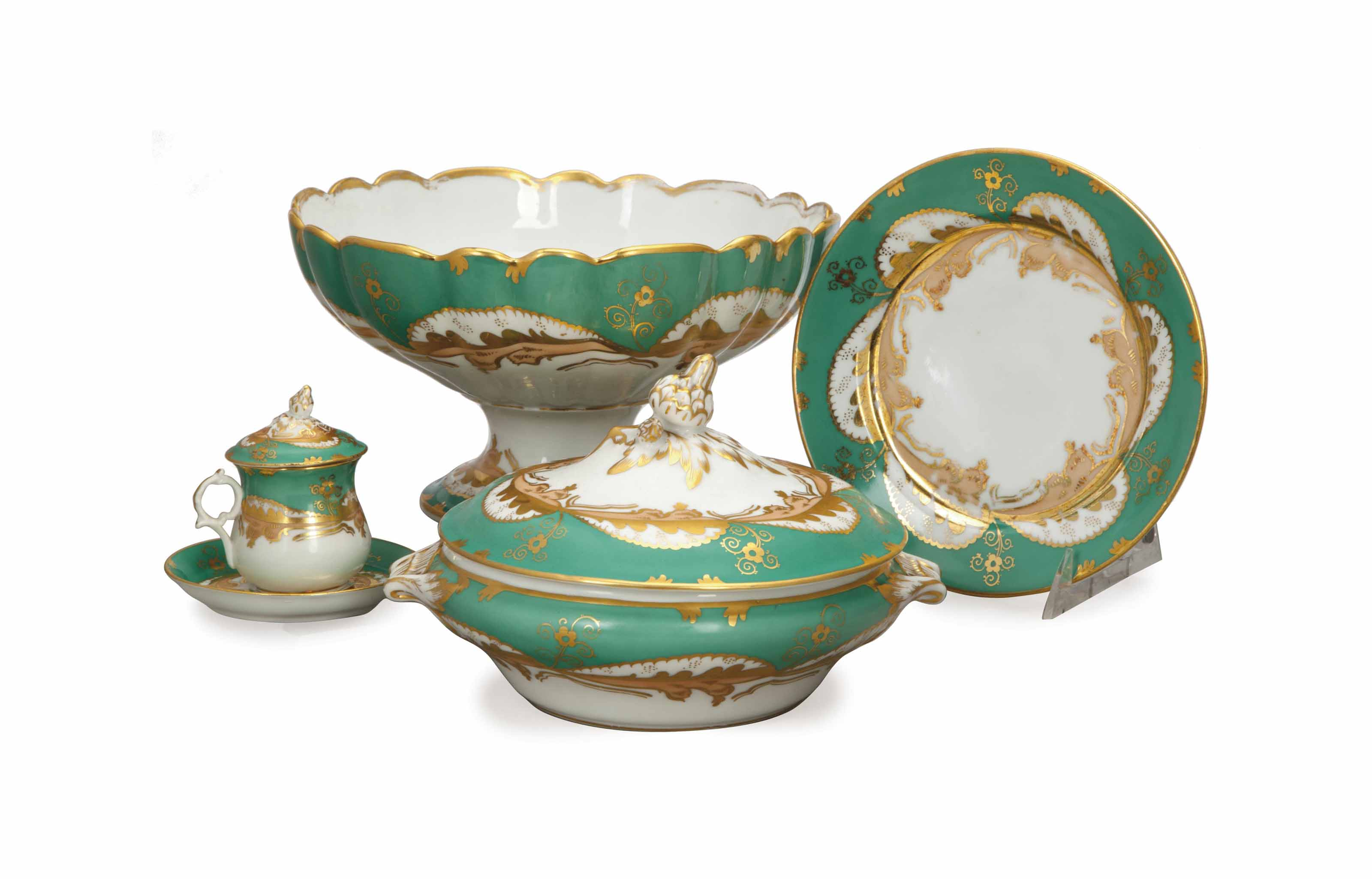 A FRENCH ASSEMBLED GREEN AND GILT DECORATED PART DINNER SERVICE,