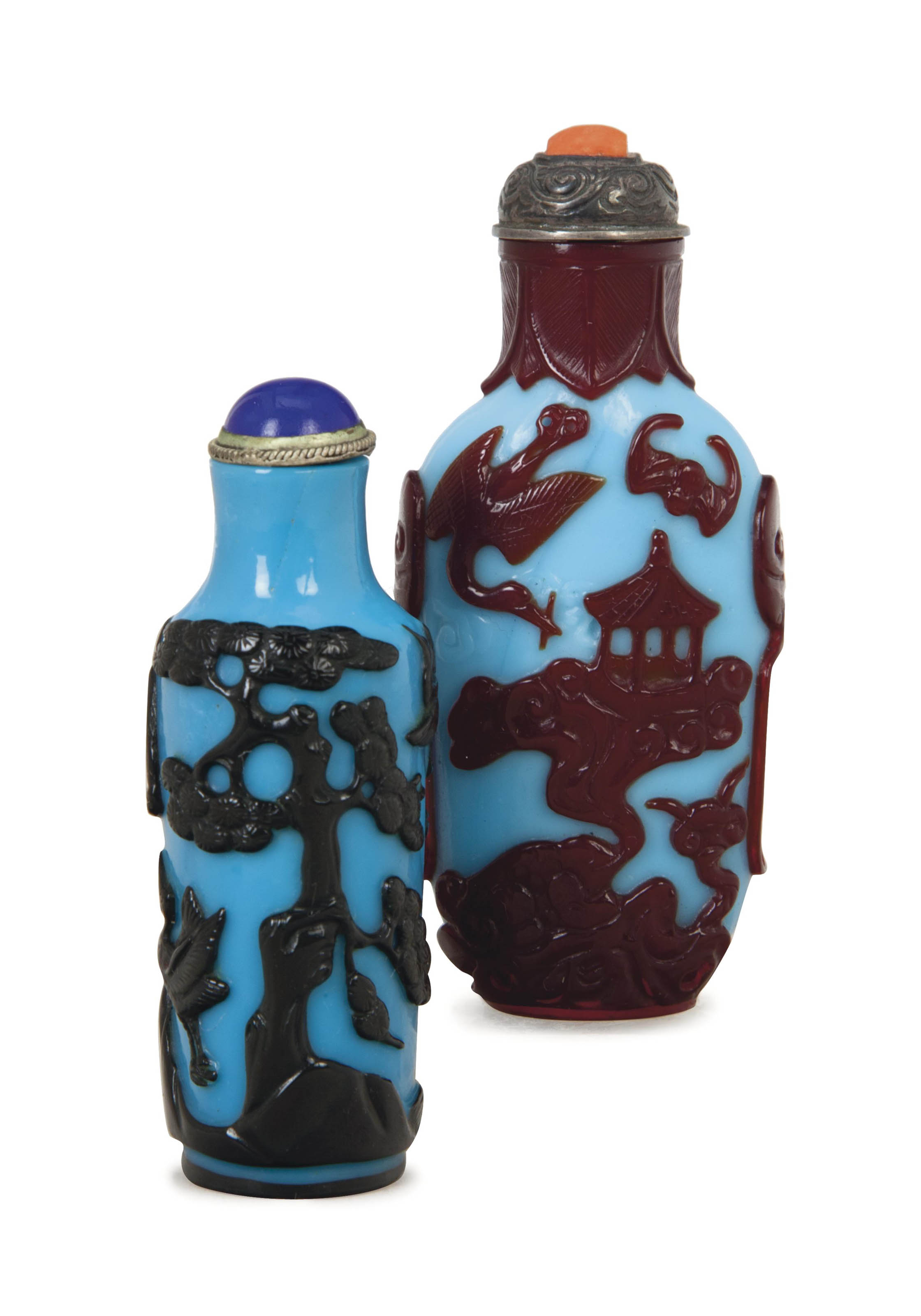 TWO CHINESE OVERLAY BLUE GLASS