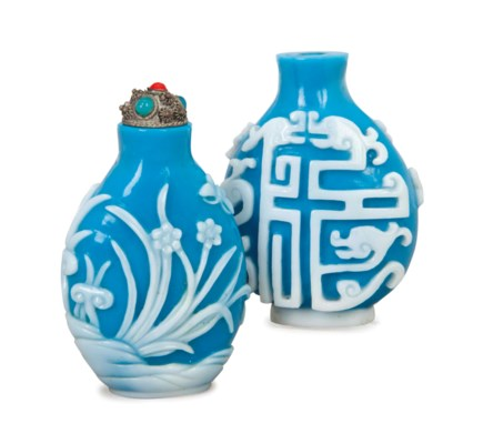 TWO CHINESE WHITE OVERLAY BLUE