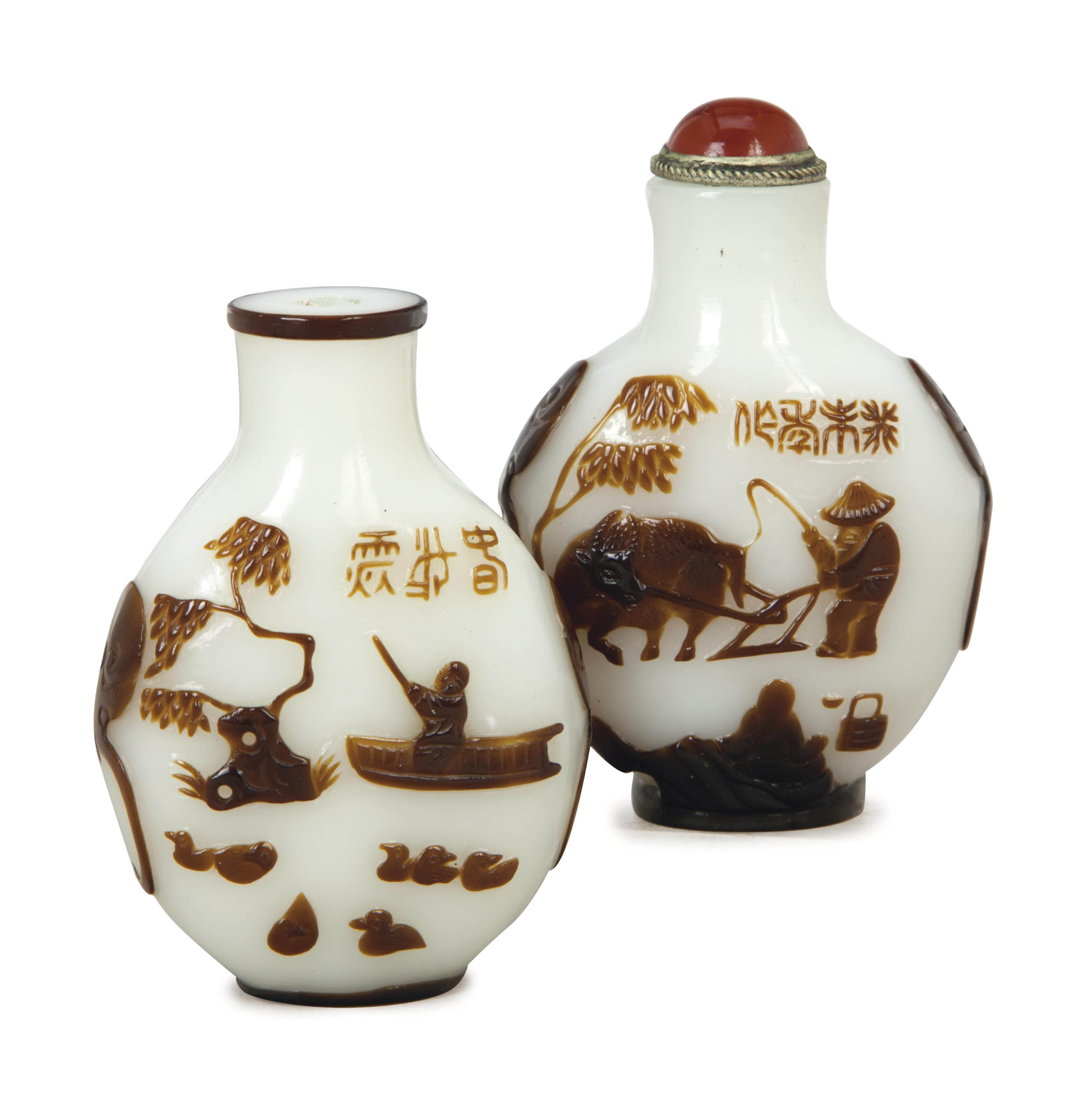 TWO CHINESE BROWN OVERLAY WHIT