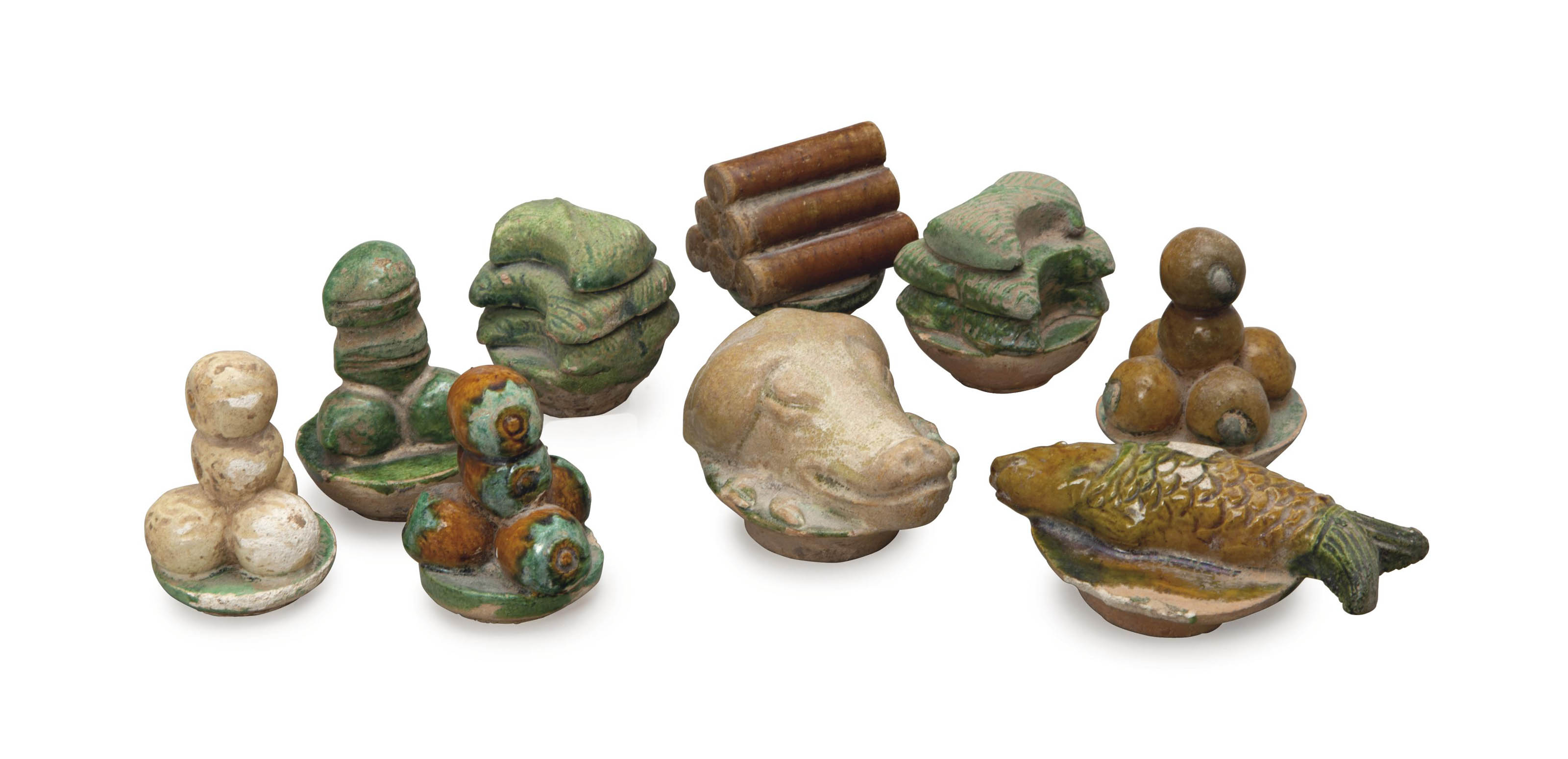 A GROUP OF CHINESE GREEN-GLAZE