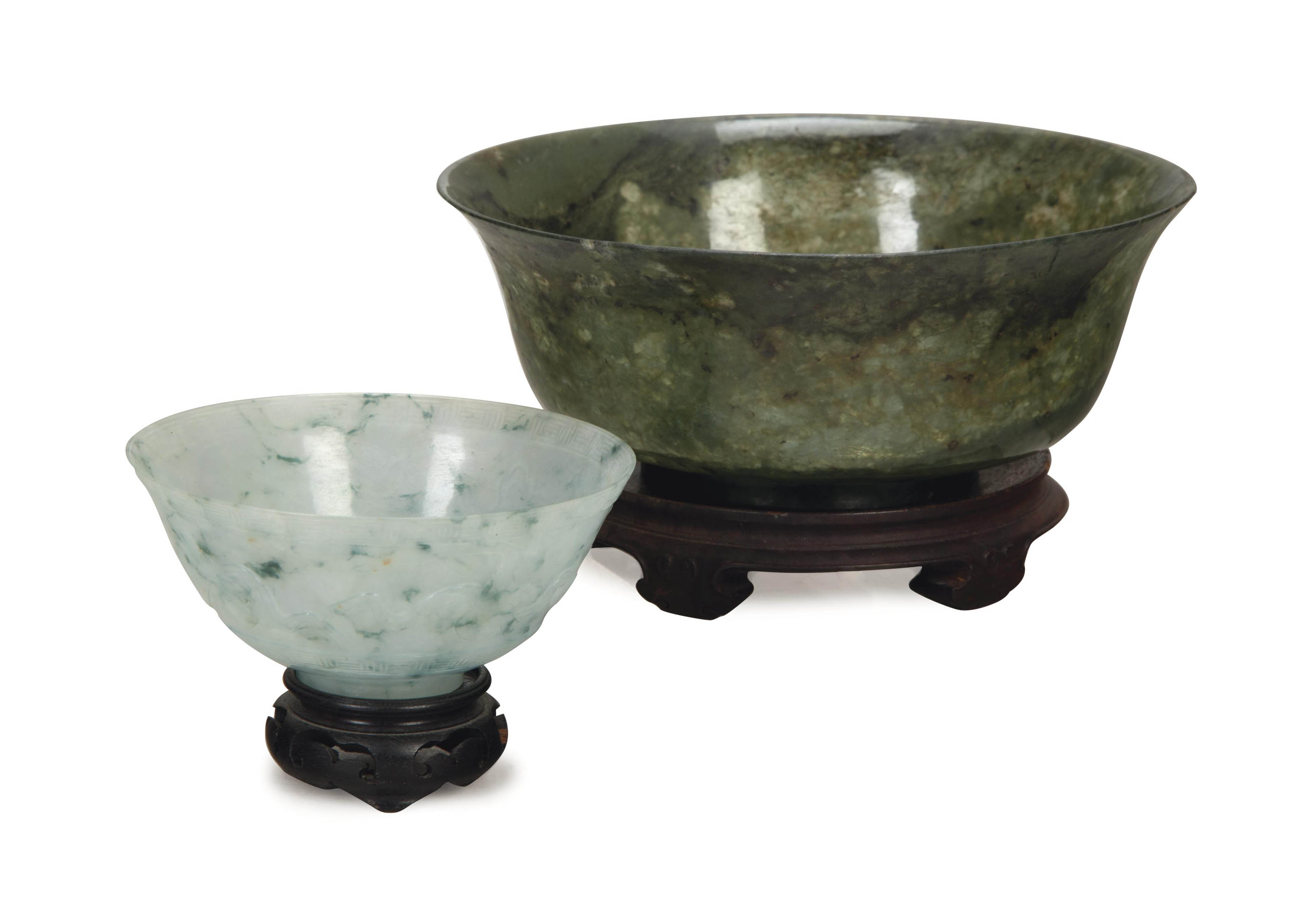 TWO CHINESE JADE BOWLS,