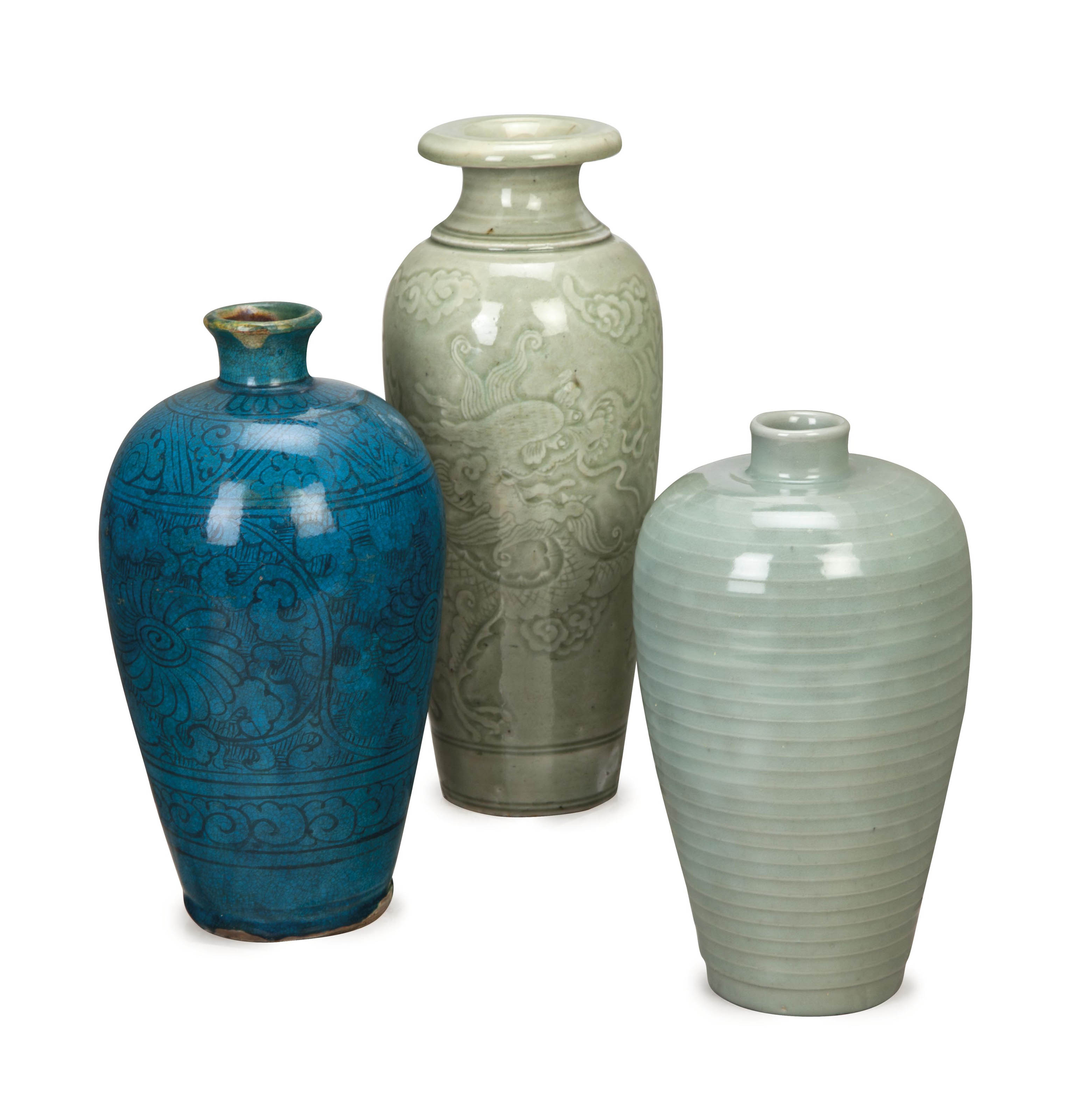 TWO CHINESE CELADON VASES AND