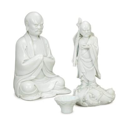 TWO CHINESE WHITE GLAZED LUOHA