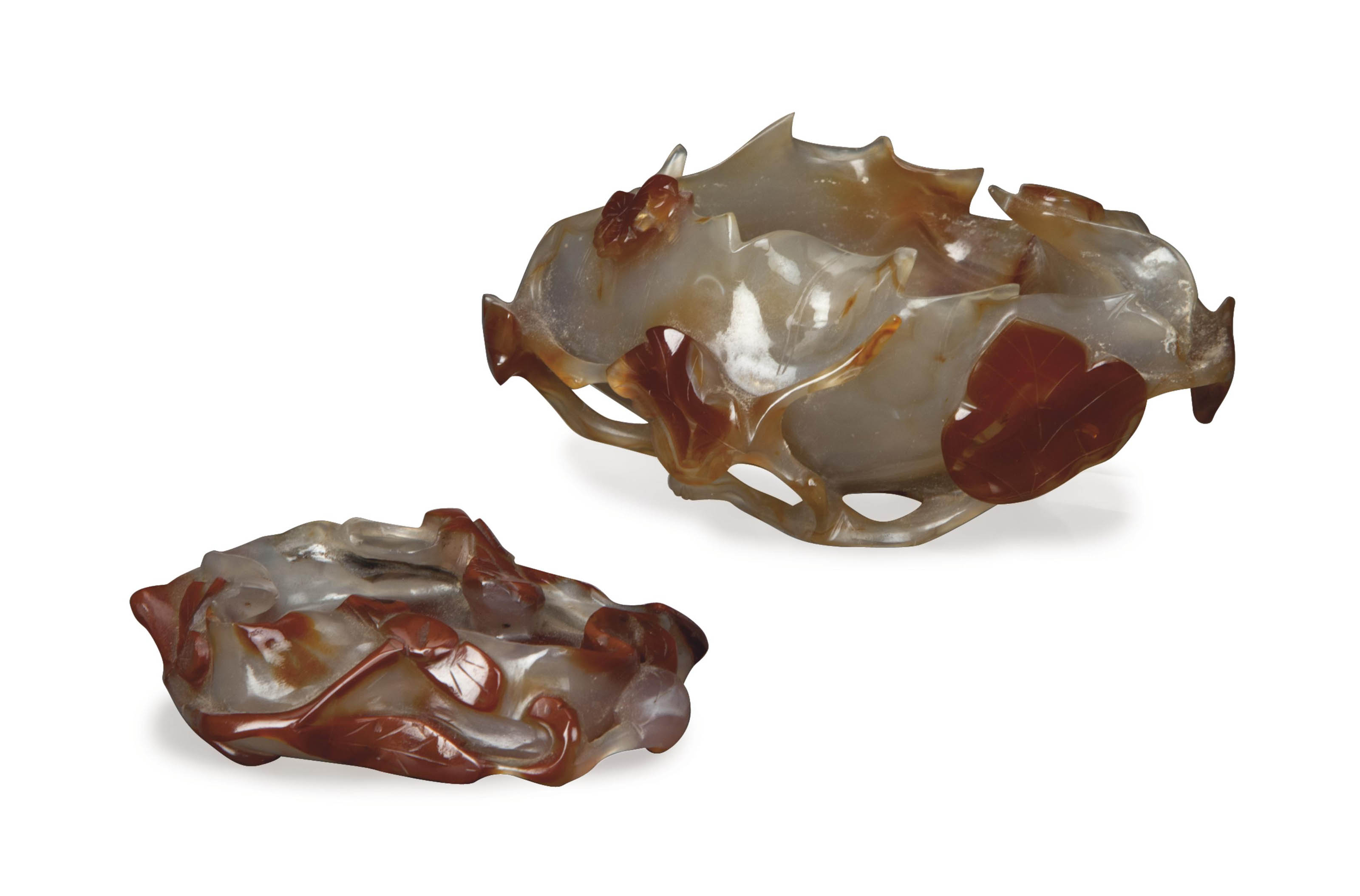 TWO CHINESE CARVED AGATE LOTUS