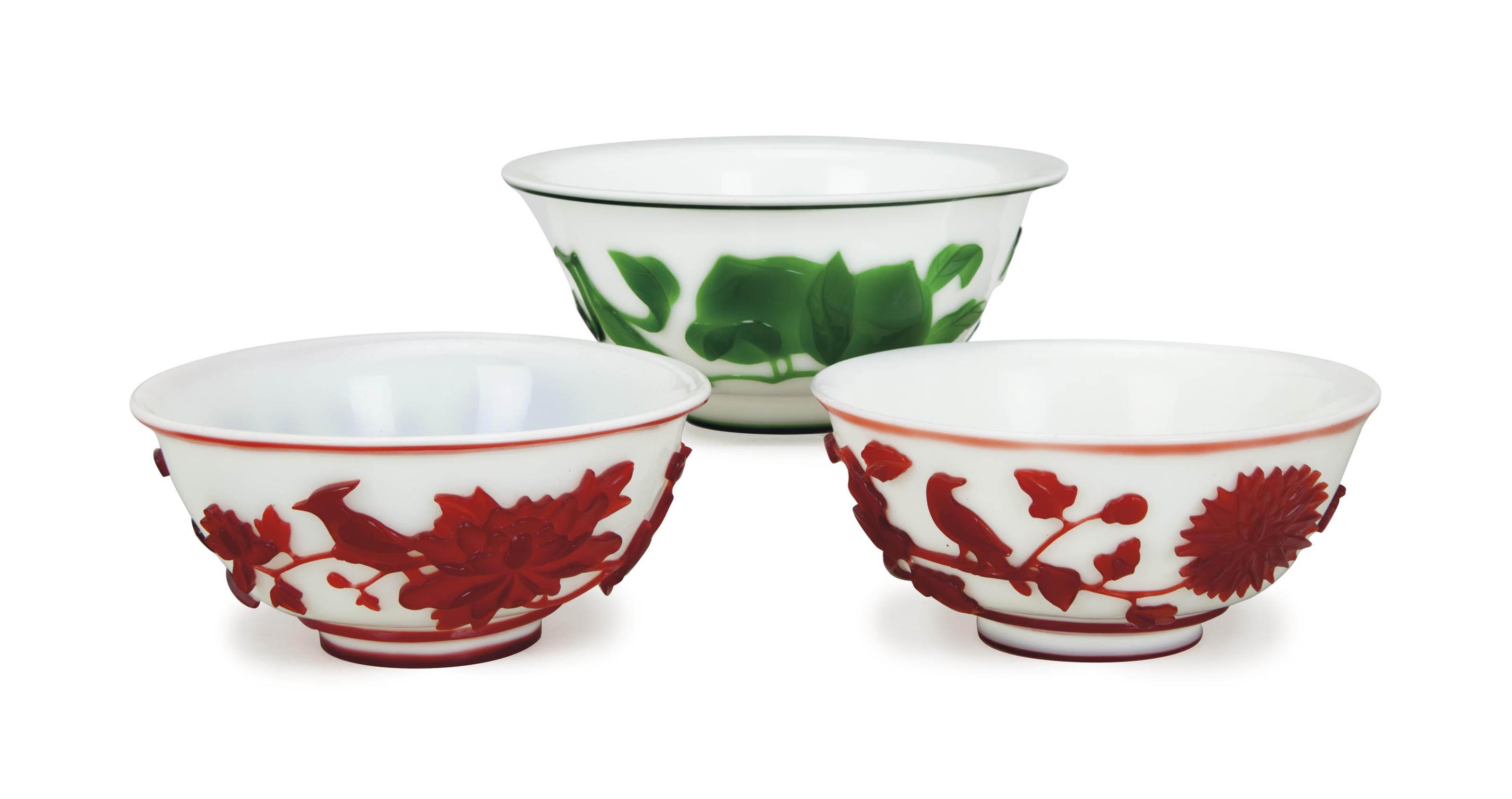 THREE CHINESE GLASS OVERLAY BO
