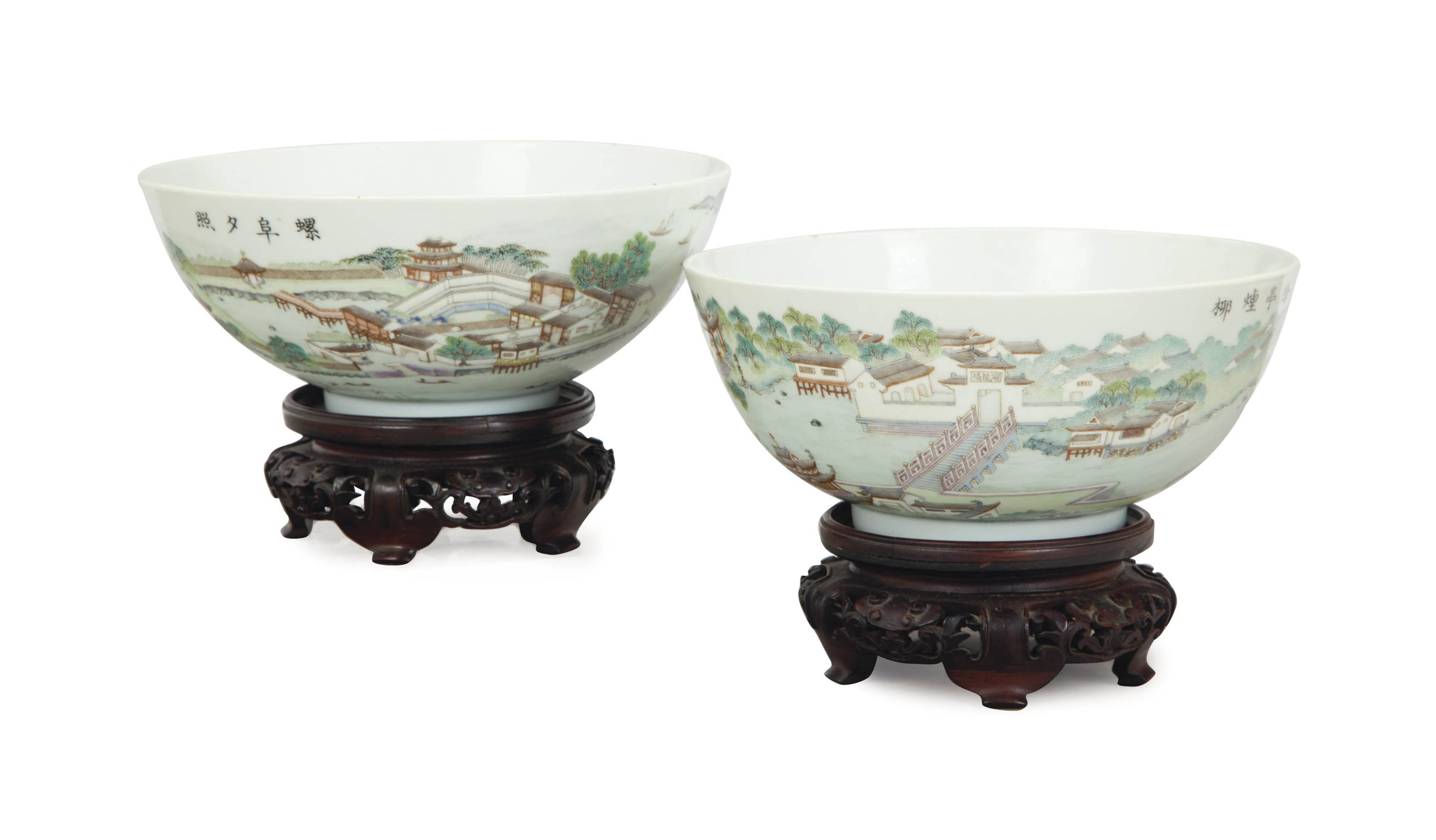 A PAIR OF CHINESE ENAMELED BOW