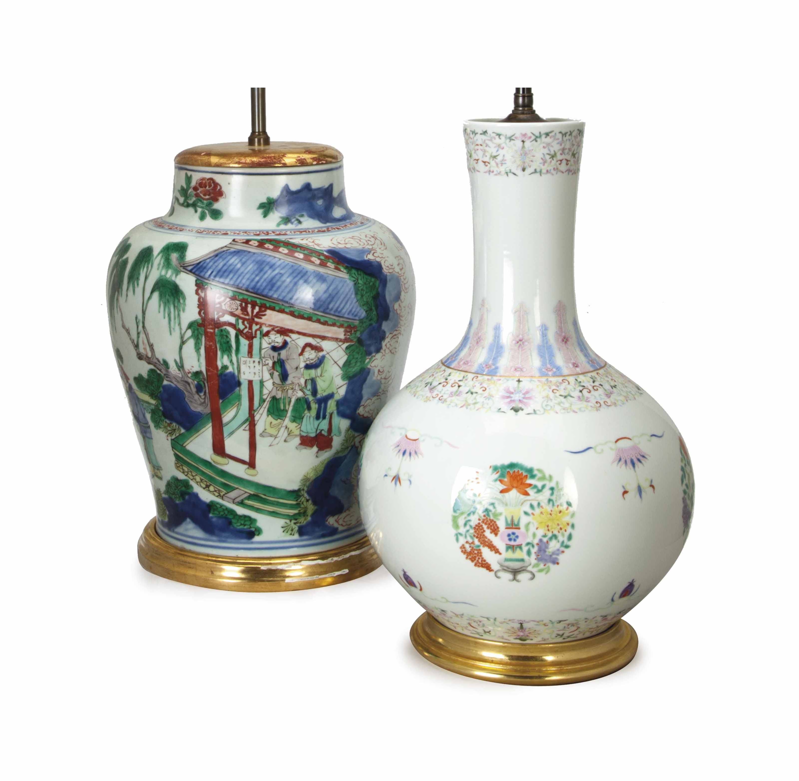 TWO CHINESE JARS MOUNTED AS LA