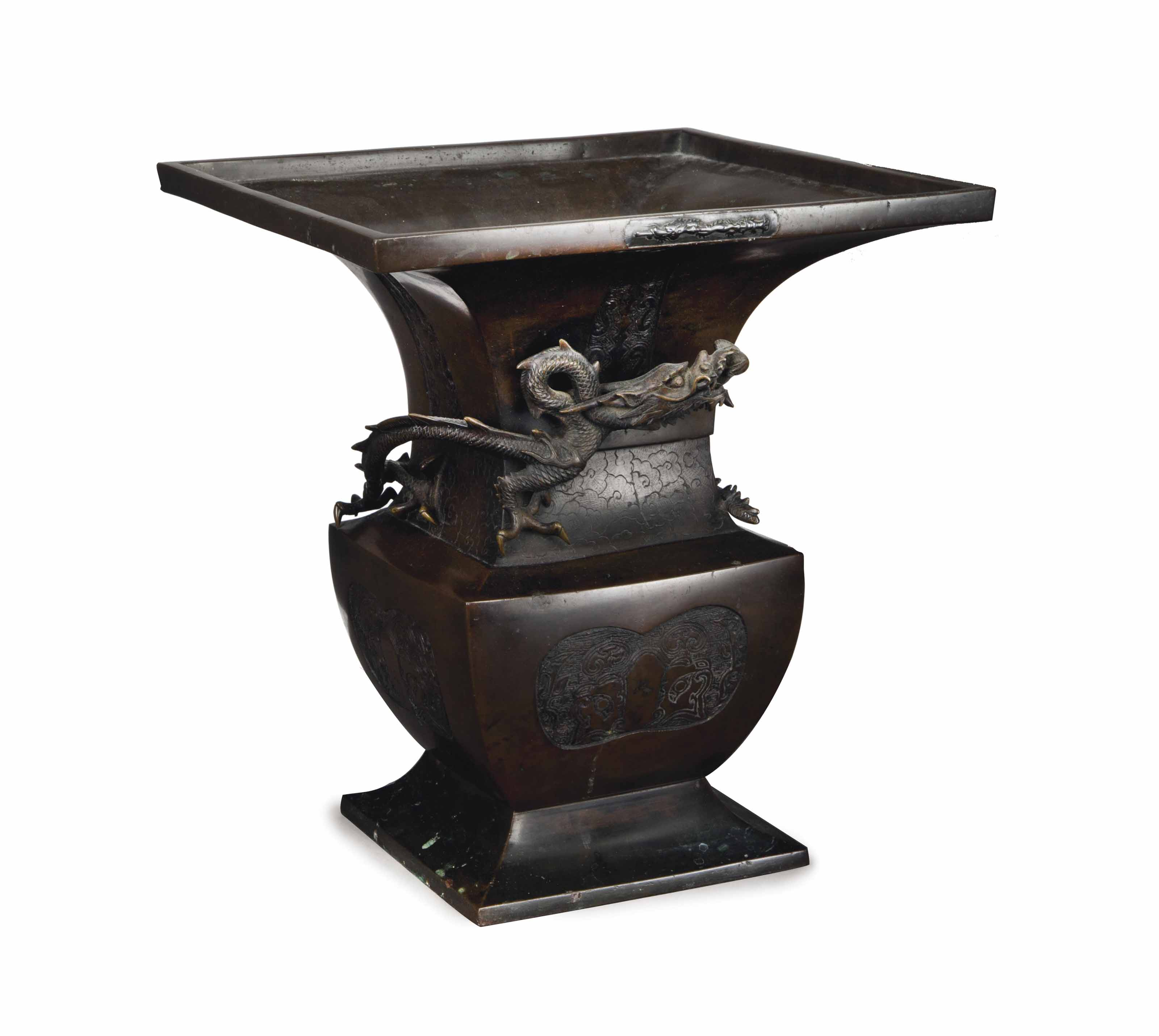 A LARGE JAPANESE SQUARE BRONZE