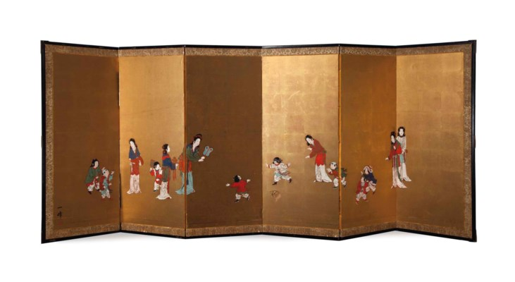 A JAPANESE SIX-PANEL FLOORSCRE