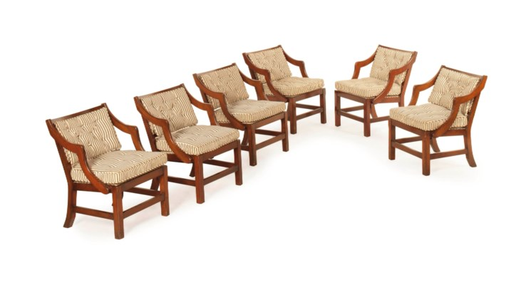 A SET OF SIX MAHOGANY ARMCHAIR