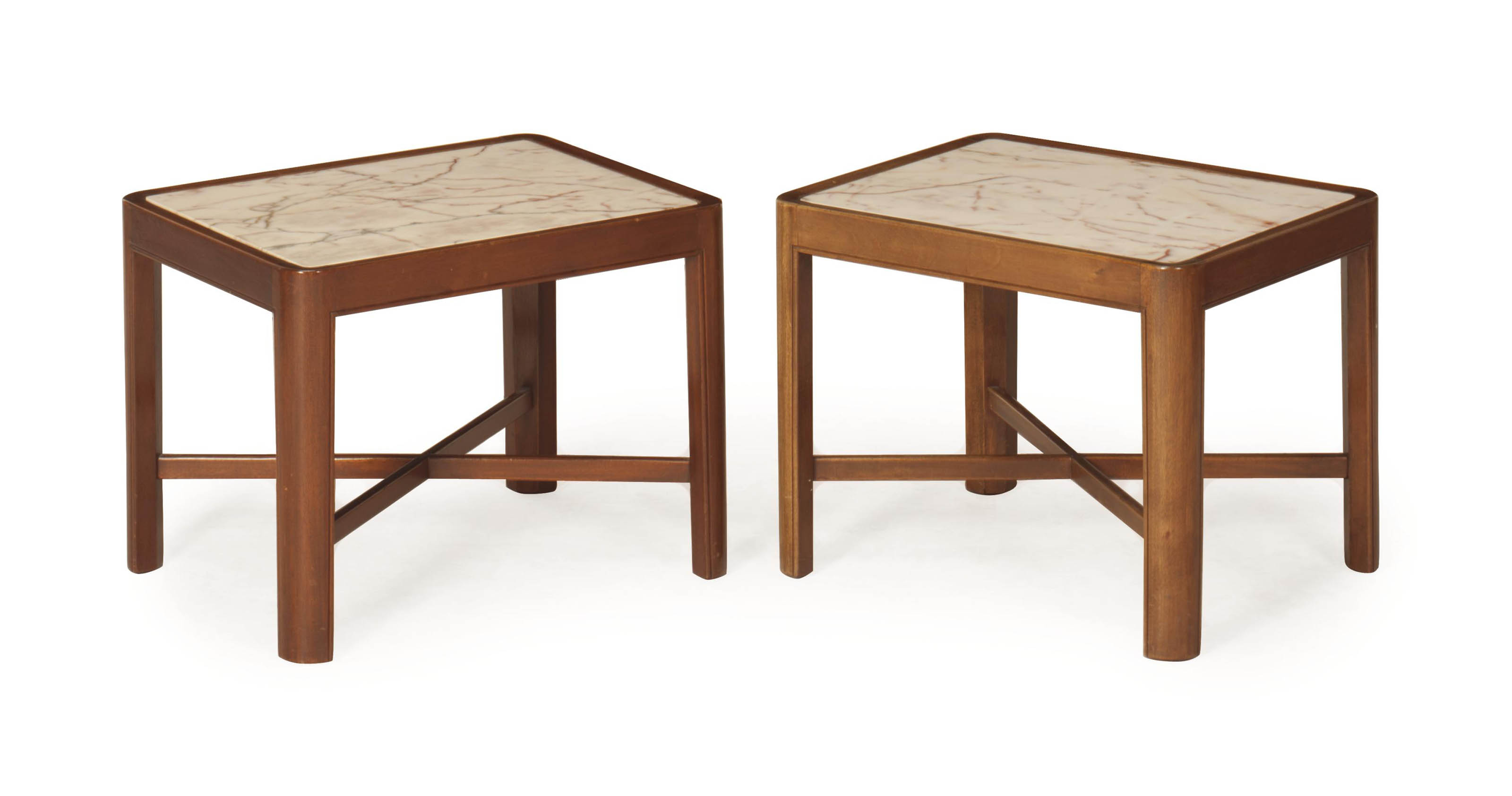 A PAIR OF MARBLE-TOP WALNUT LO