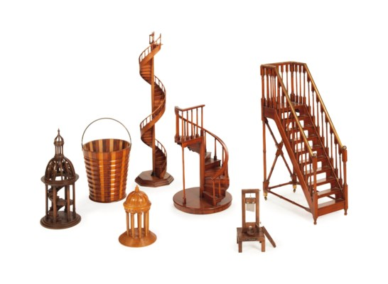 FOUR MAHOGANY MODELS OF STAIRC
