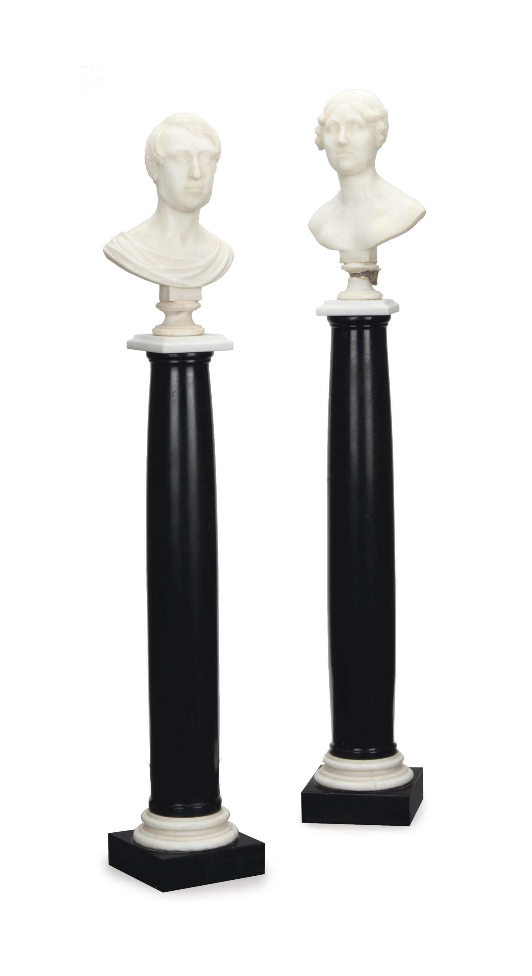 A PAIR OF MARBLE BUSTS ON BLAC