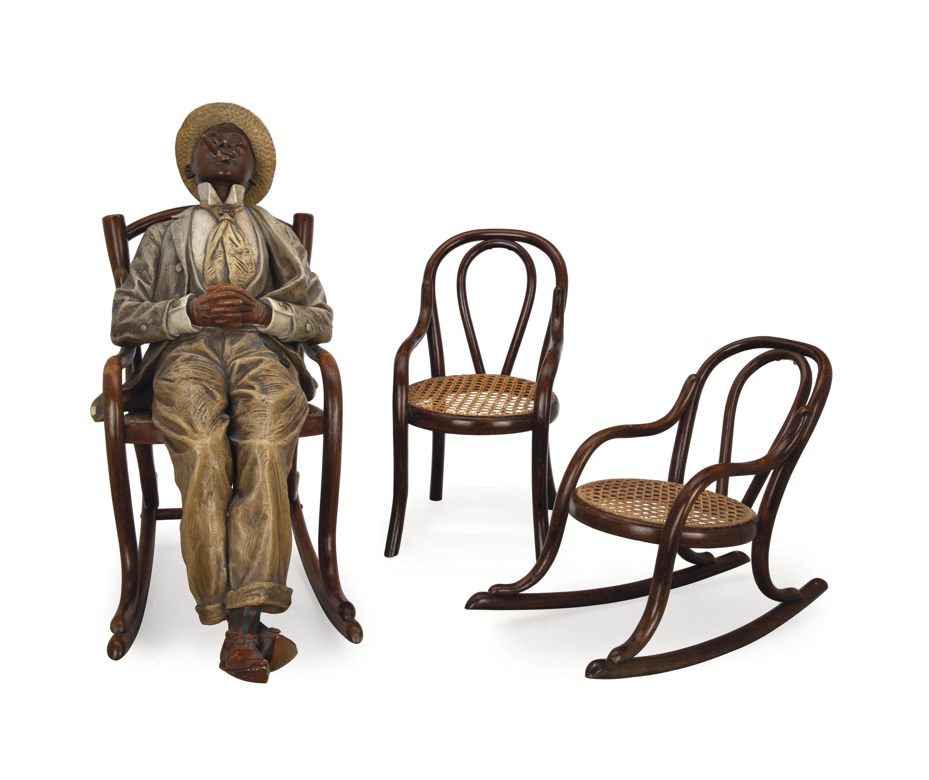 TWO MINIATURE BENTWOOD AND CAN