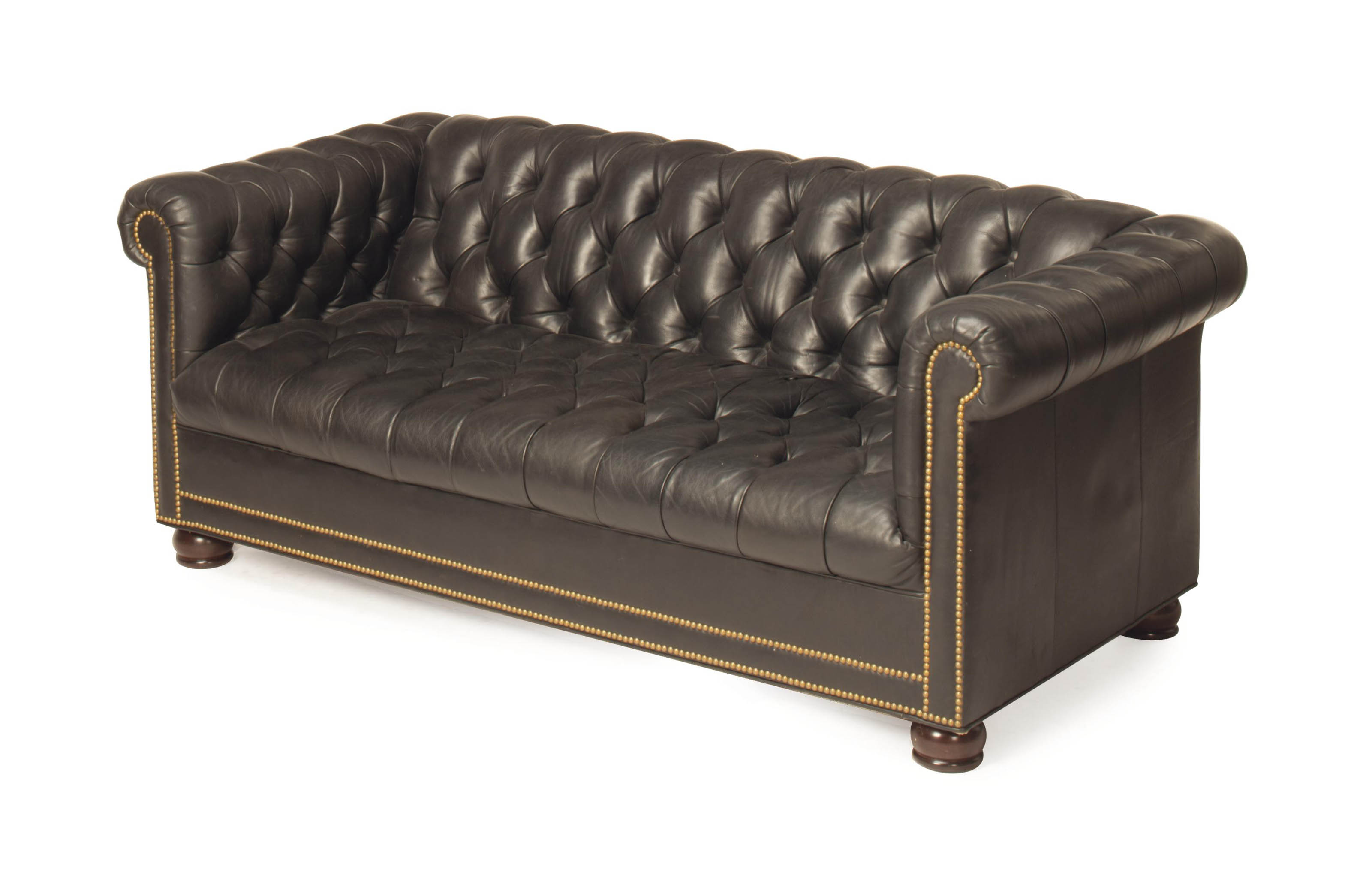 A MODERN BLACK LEATHER-UPHOLST