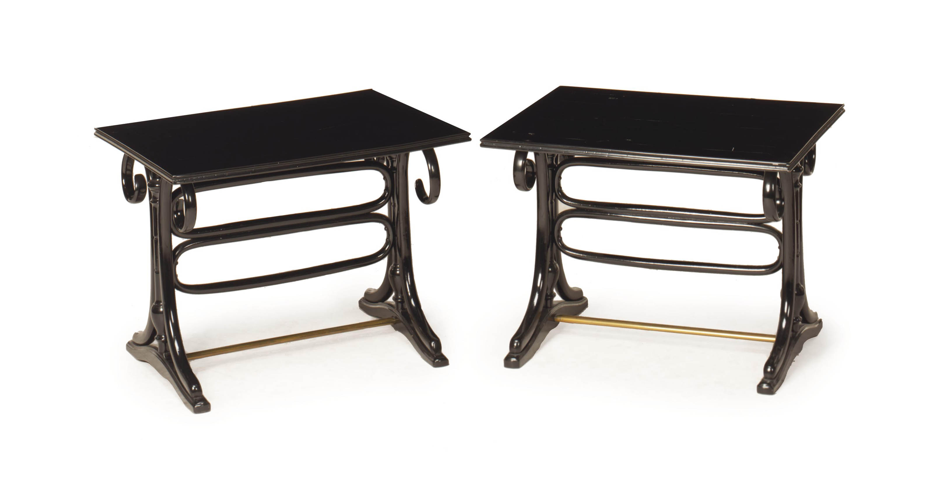 A PAIR OF EBONIZED BENTWOOD AN