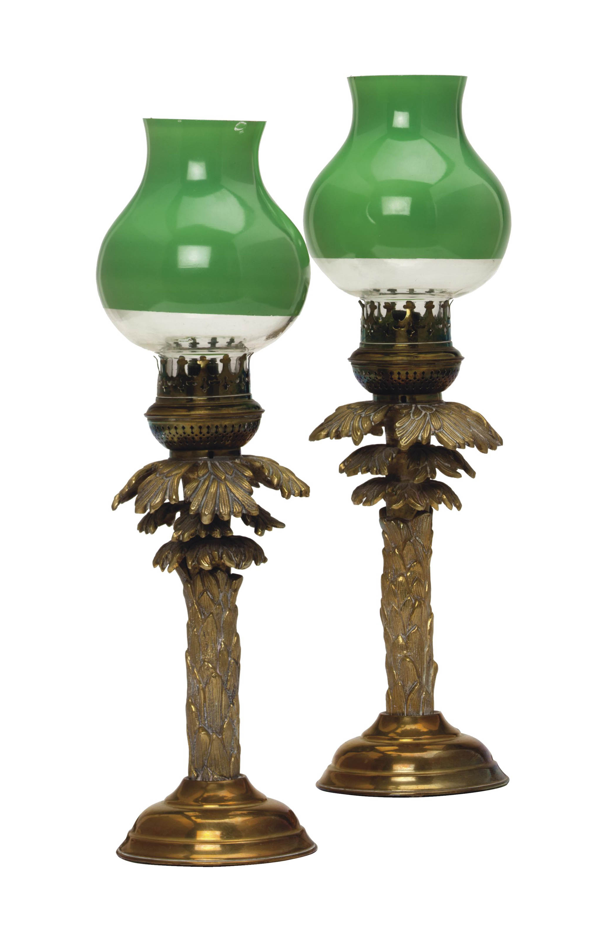 A PAIR OF BRASS PALM TREE-FORM
