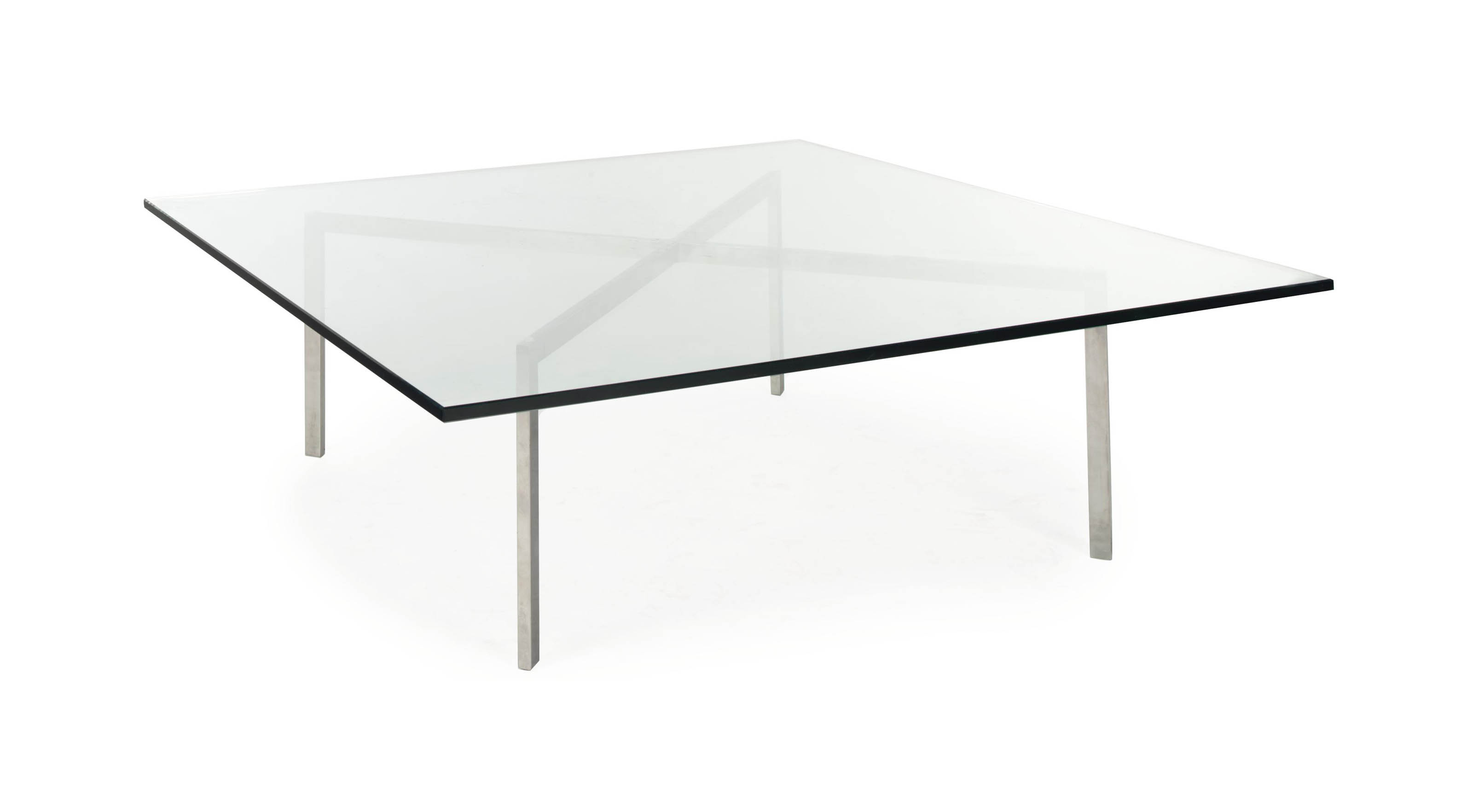 A CHROMED-METAL AND GLASS-TOP