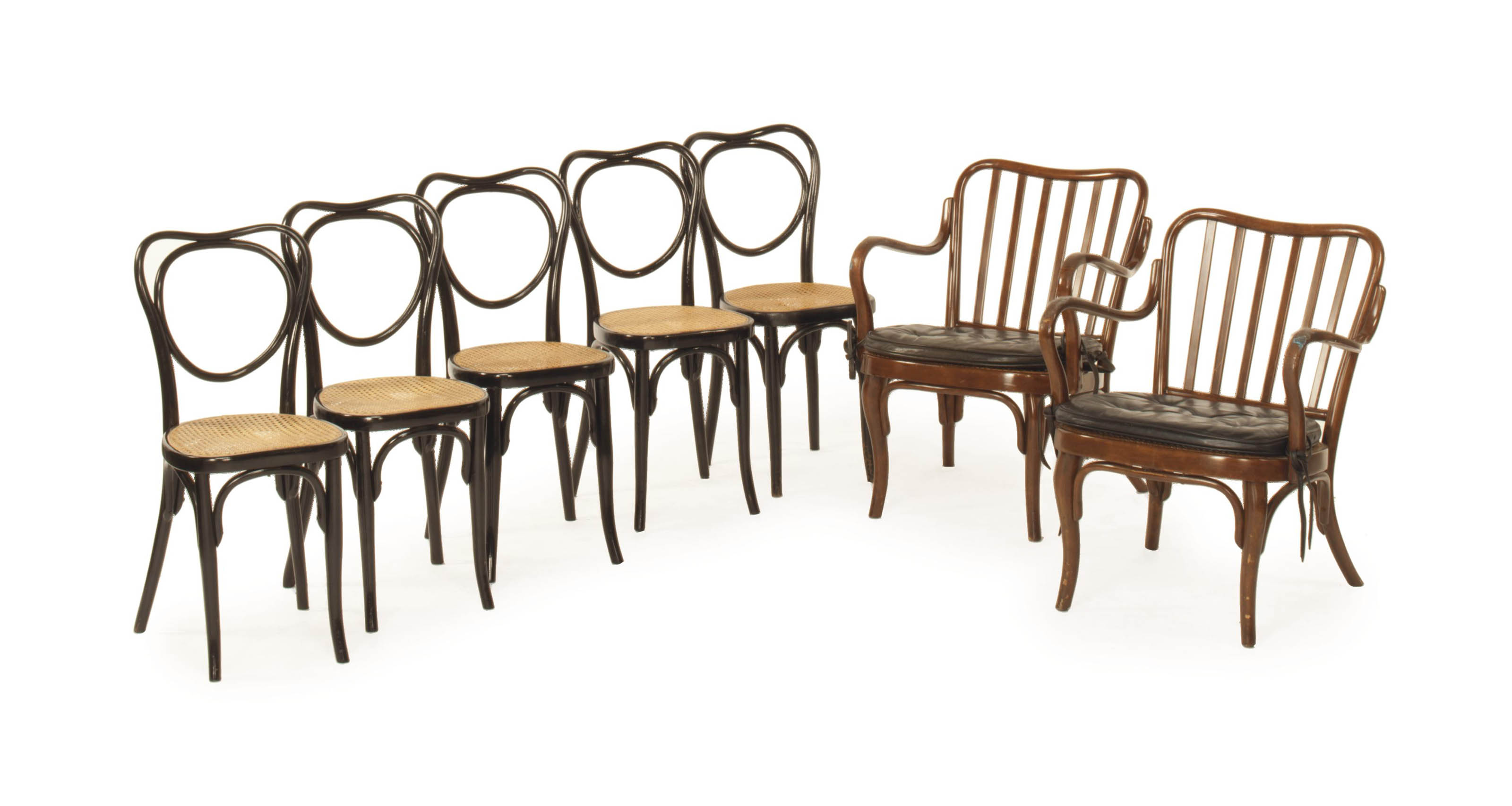 A PAIR OF TWO STAINED BENTWOOD