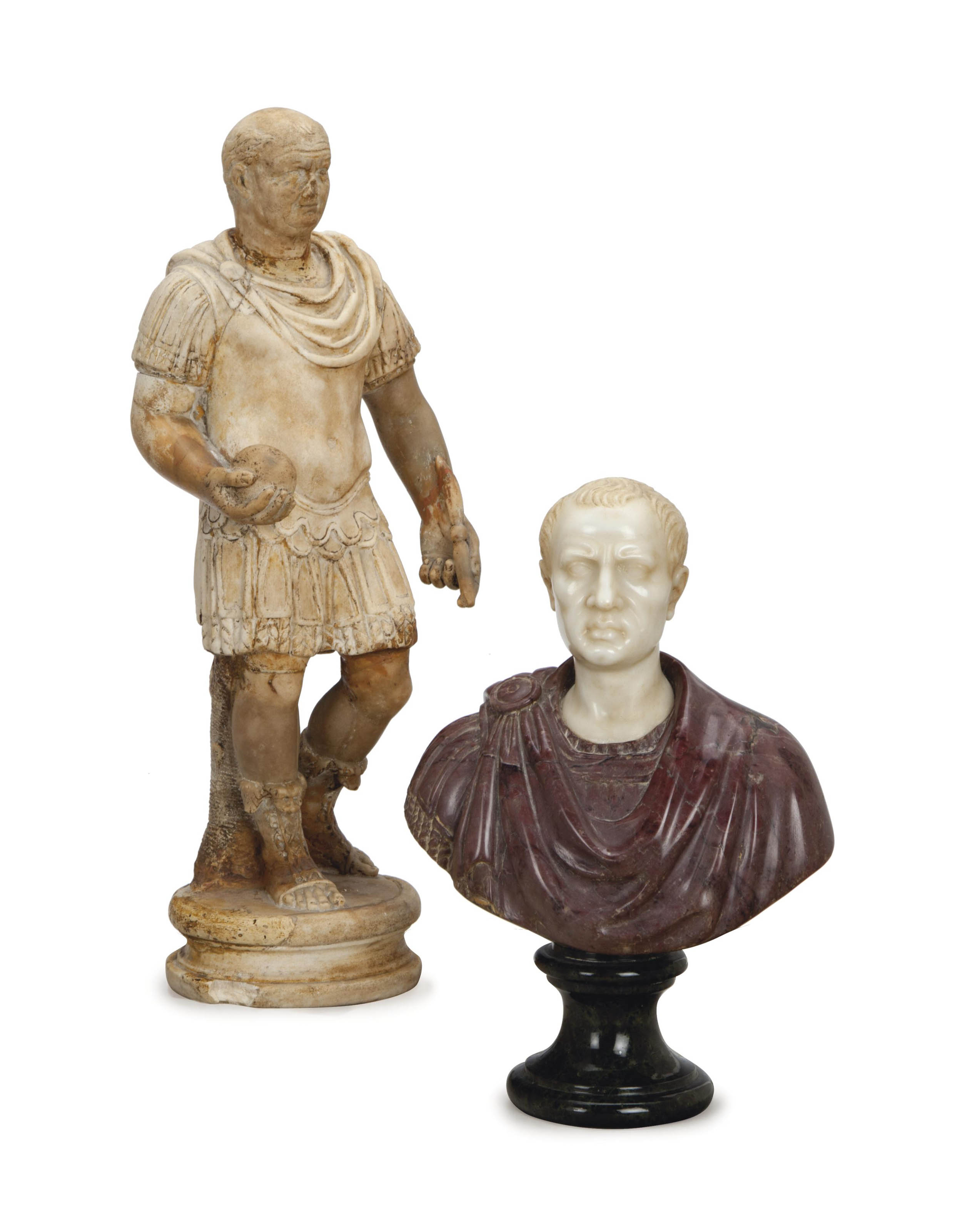 A MIXED MARBLE BUST OF A ROMAN
