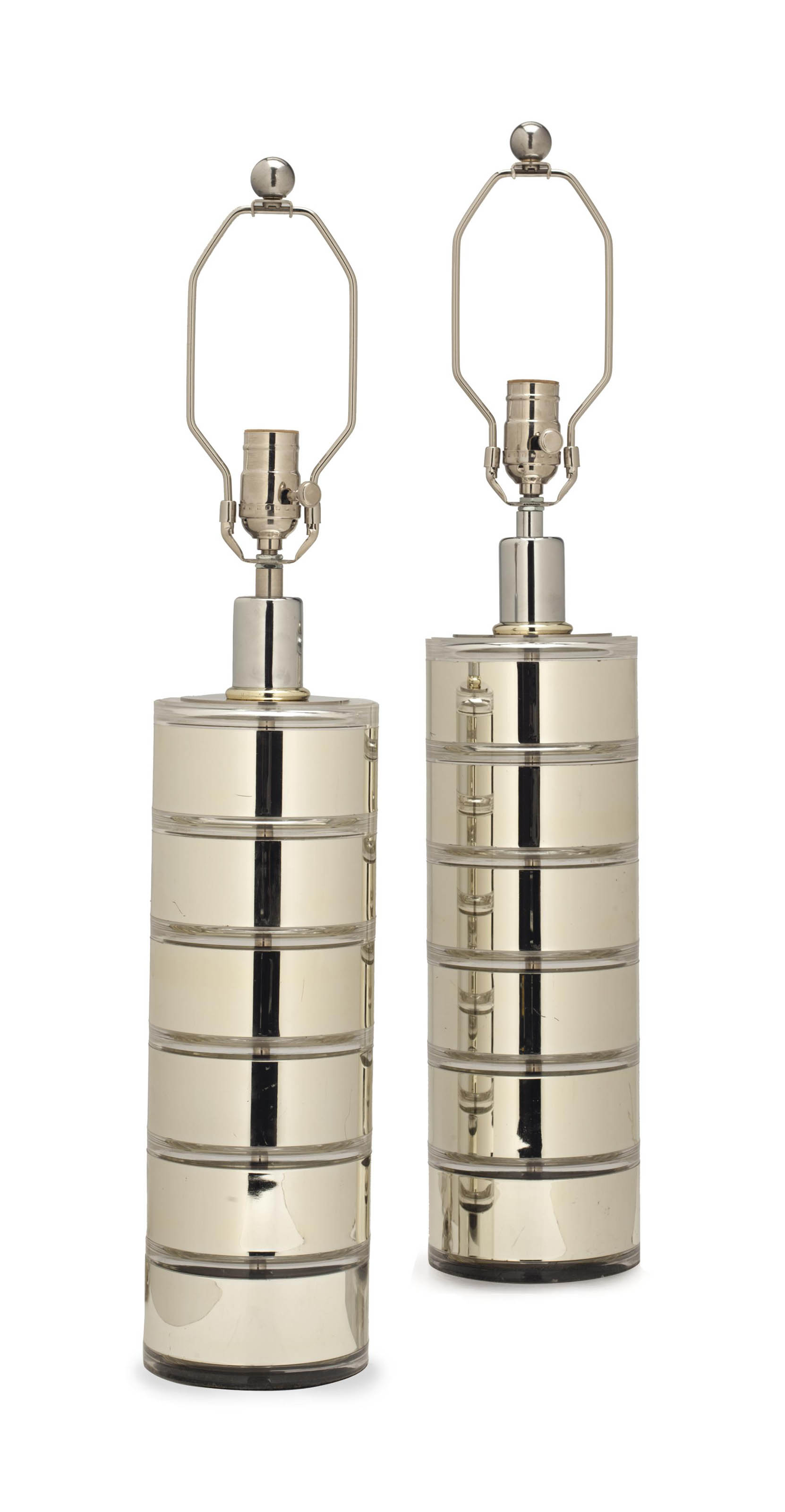A PAIR OF CHROMED-METAL AND AC
