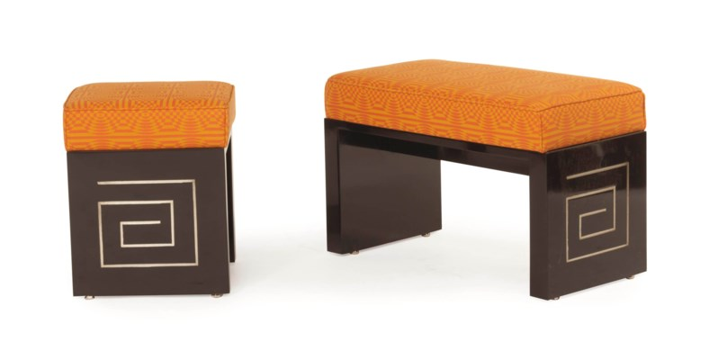 AN ORANGE AND YELLOW UPHOLSTER