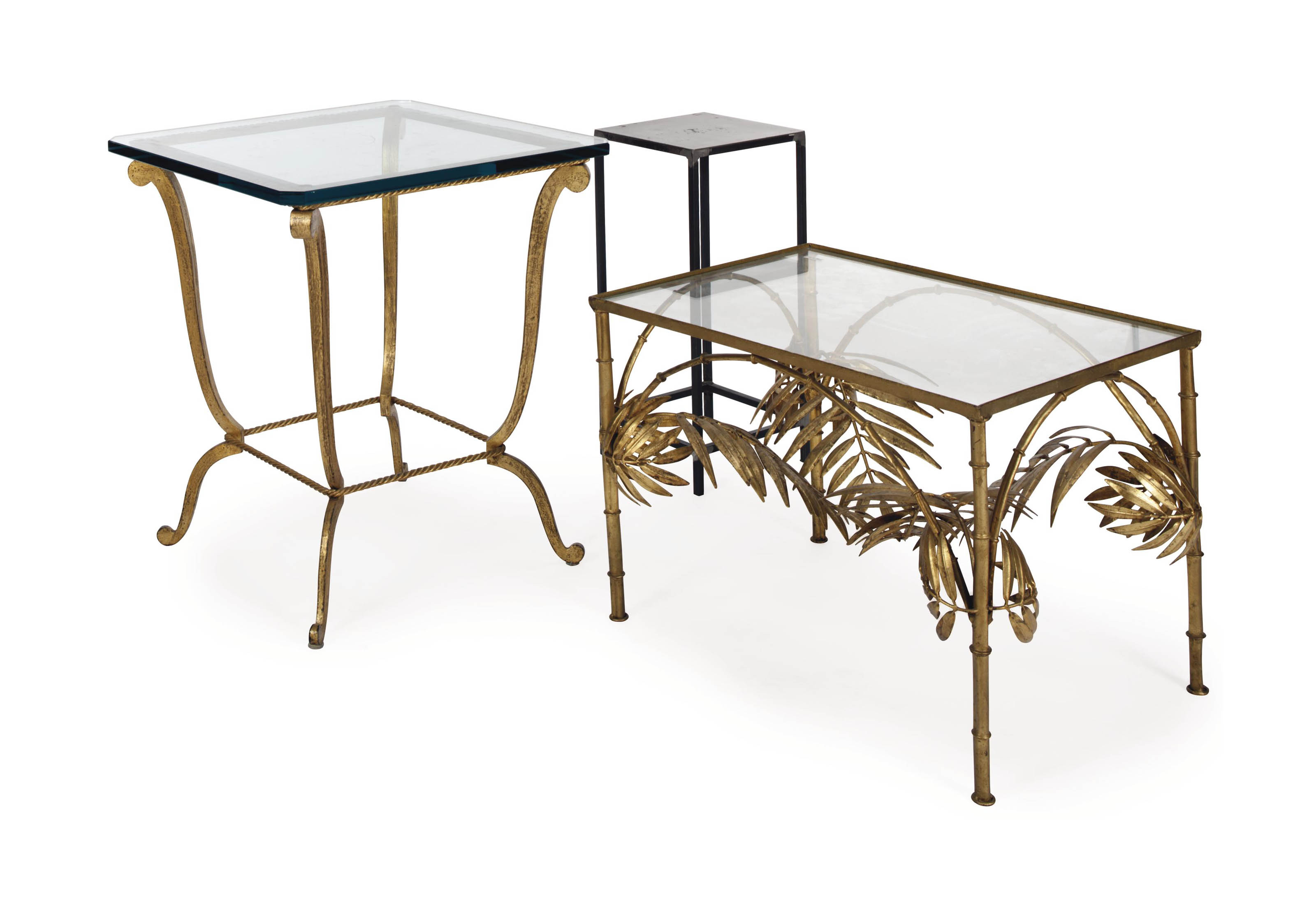 TWO GILT-METAL AND GLASS-TOP T