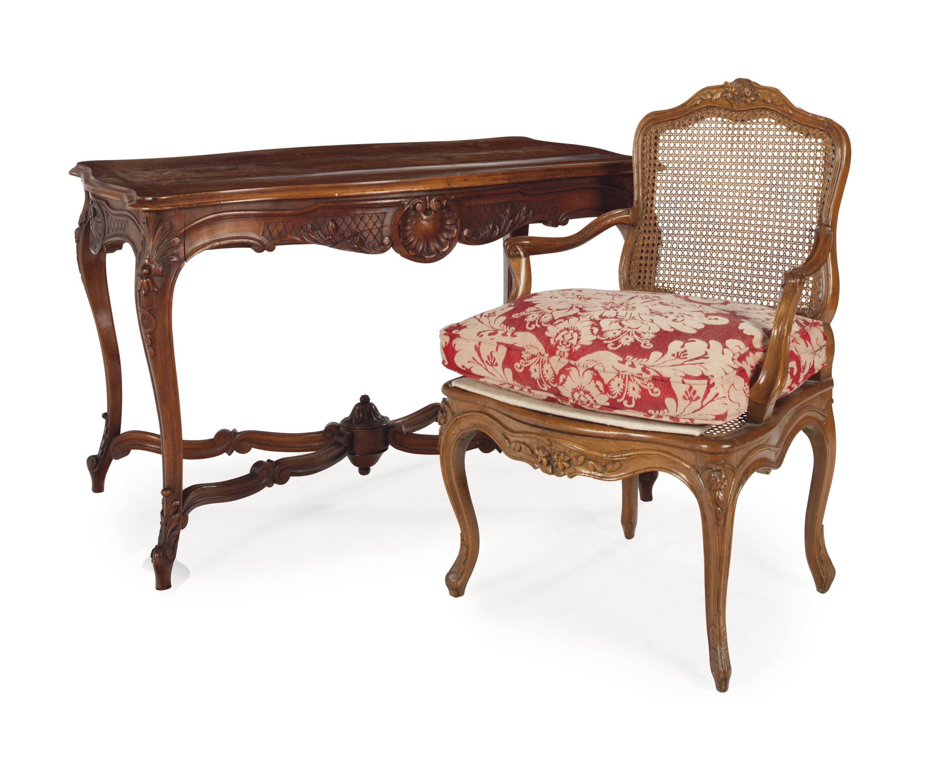 A FRENCH WALNUT CENTER TABLE,