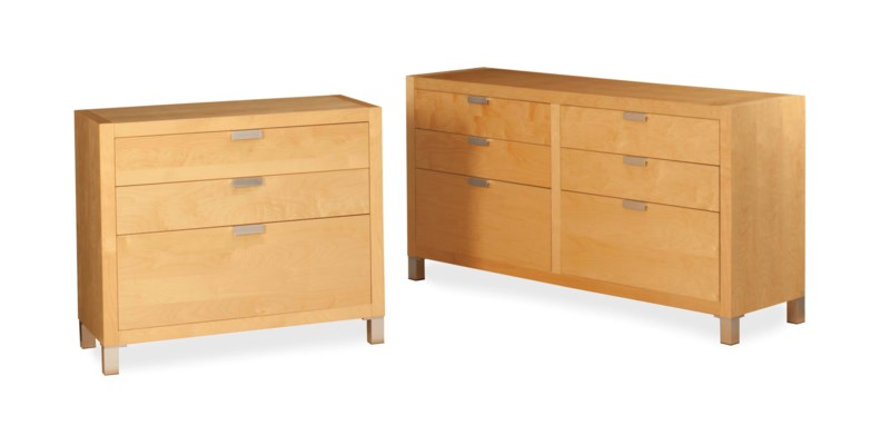 A SUITE OF THREE BIRCH CHEST-O
