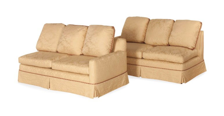 A PAIR OF CREAM DAMASK-UPHOLST