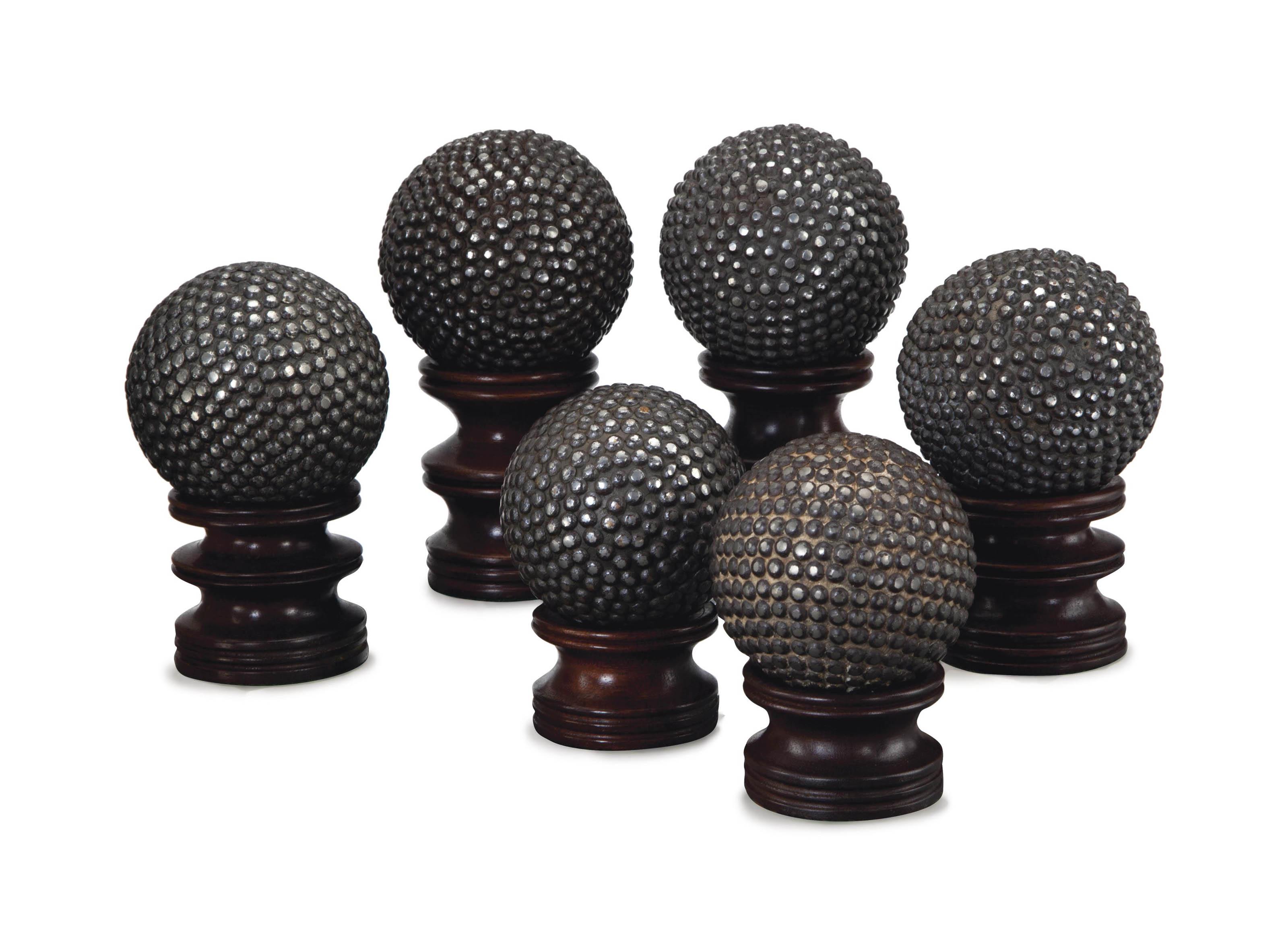 A SET OF SIX STUDDED-STEEL SPH