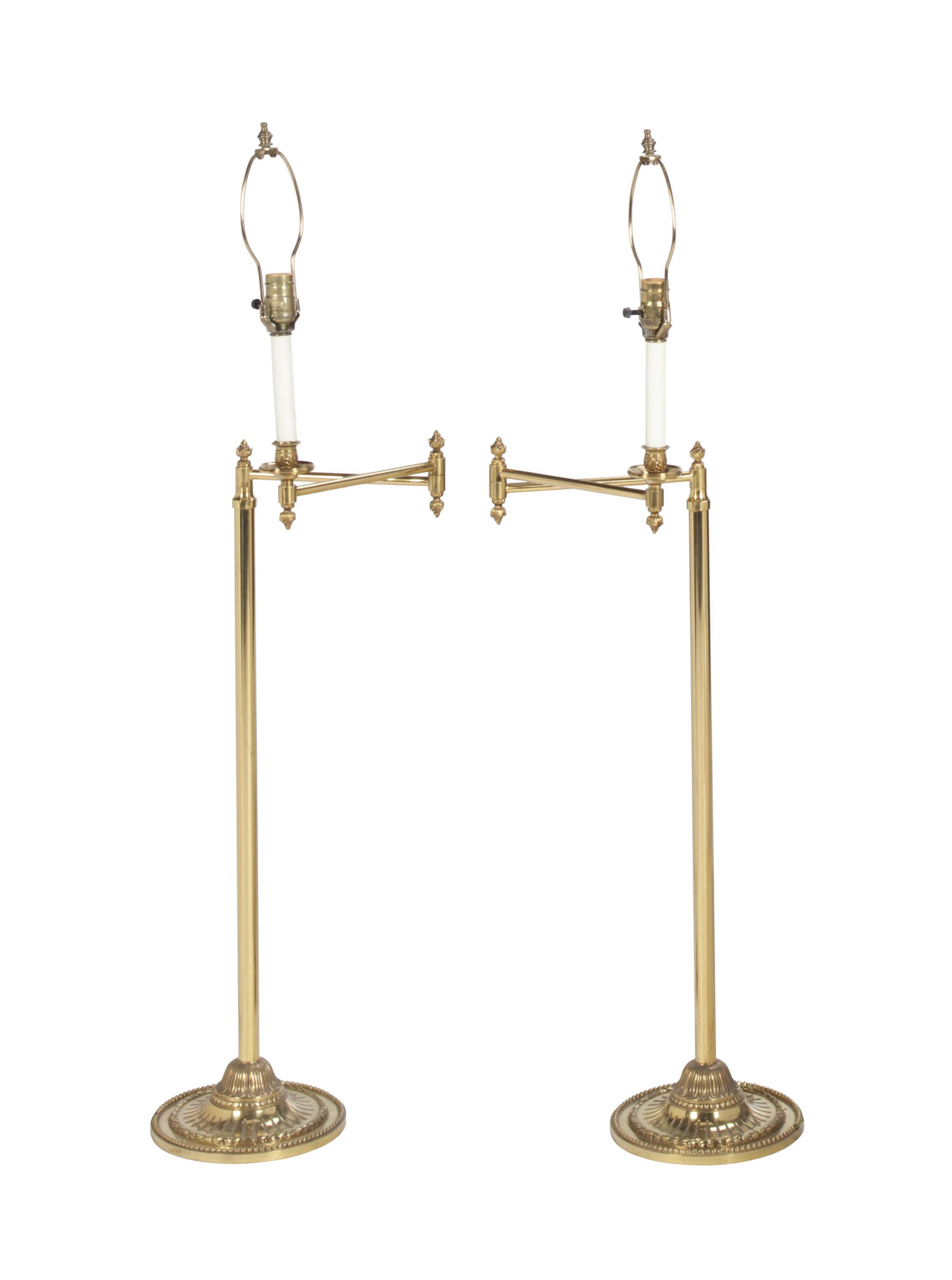 A PAIR OF BRASS SWING-ARM FLOO