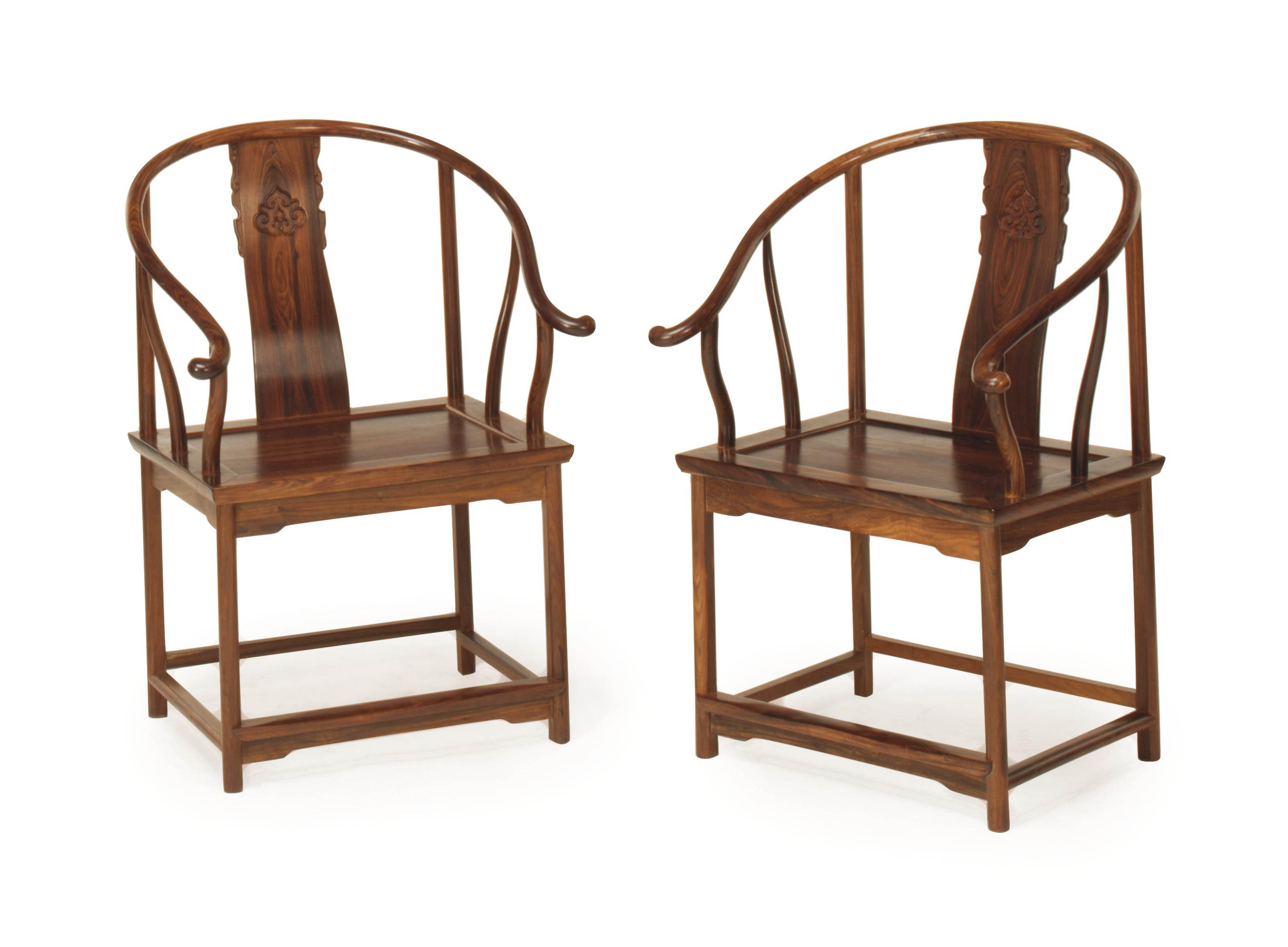A PAIR OF CHINESE HARDWOOD HOR