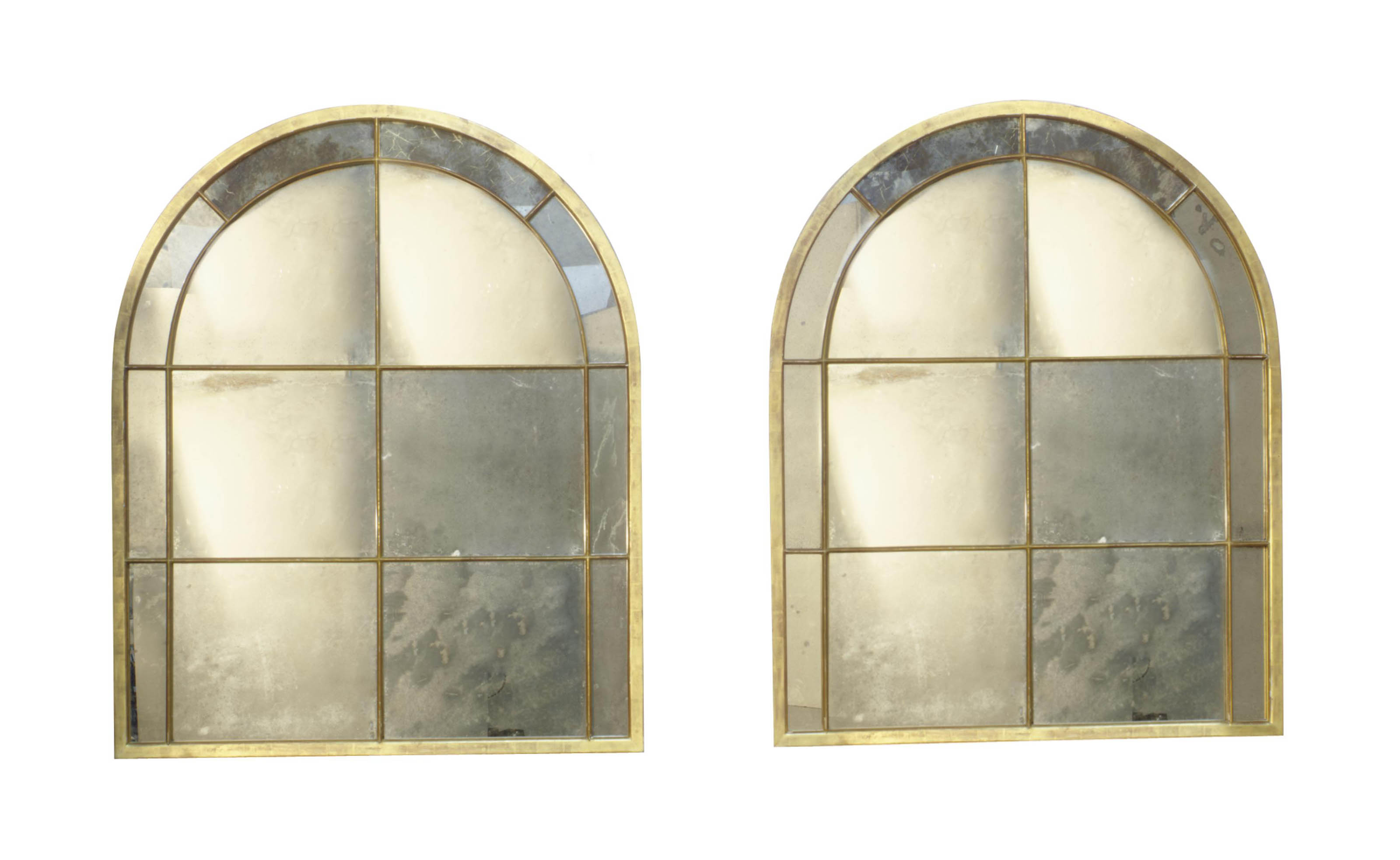 A PAIR OF GILTWOOD OVERMANTLE