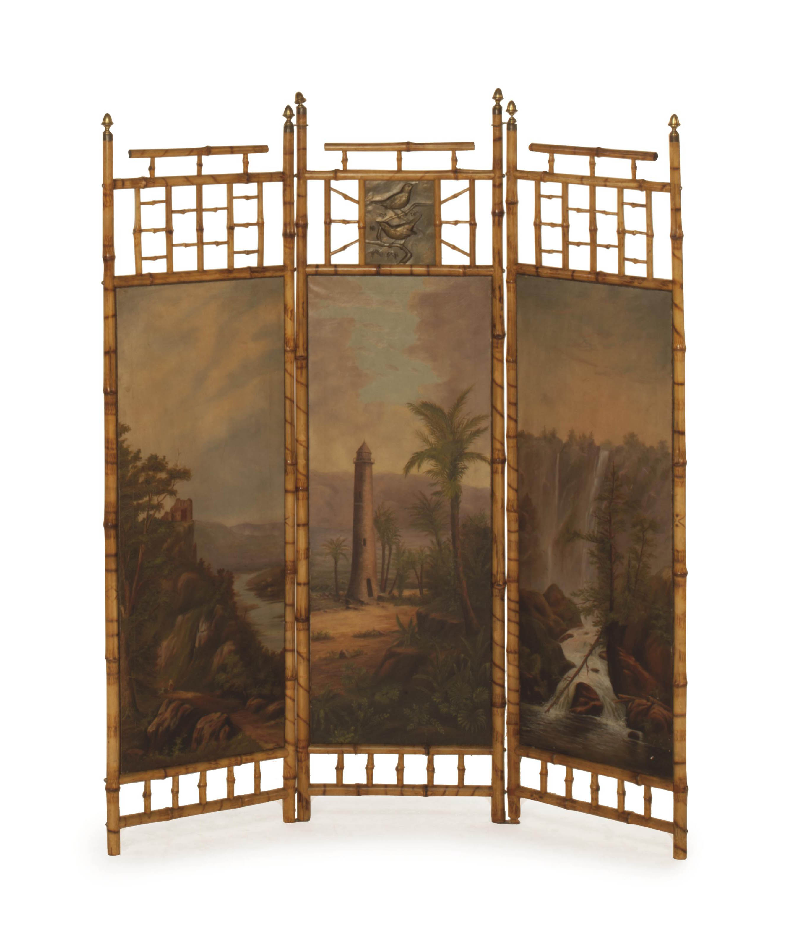 A VICTORIAN BAMBOO AND CANVAS