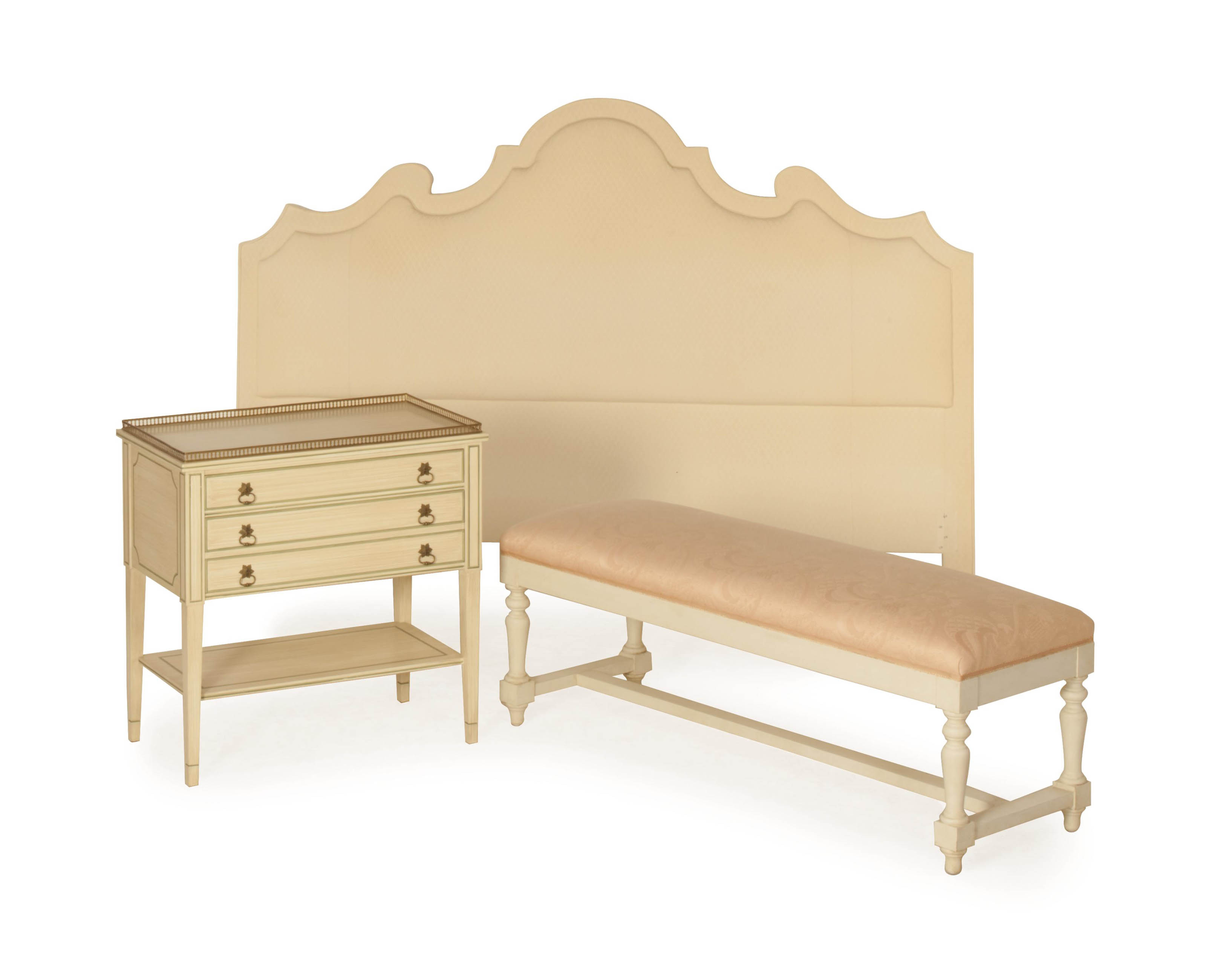 A PALE PINK UPHOLSTERED WHITE