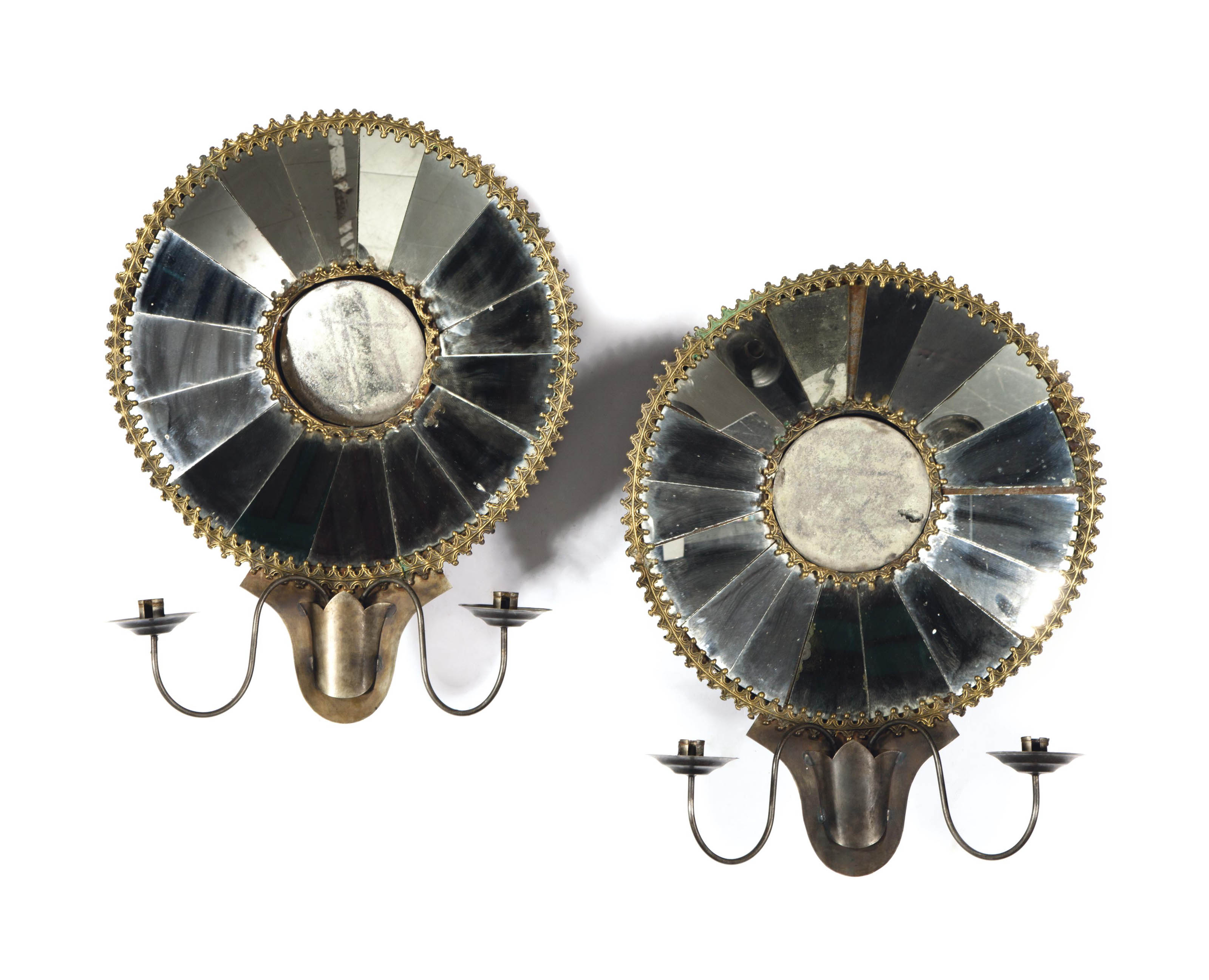 A PAIR OF GILT-METAL AND MIRRO