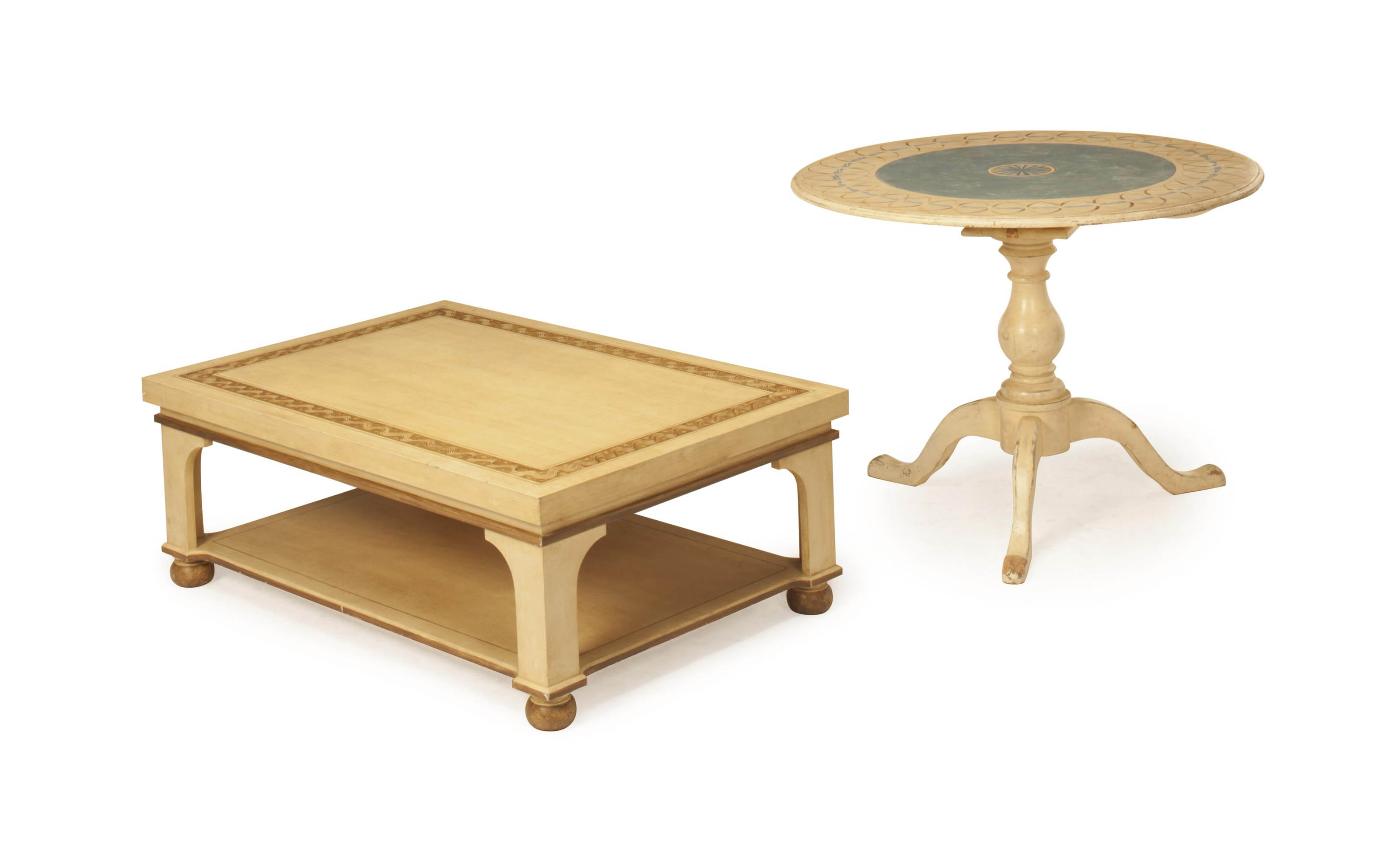 A PALE BROWN PAINTED LOW TABLE