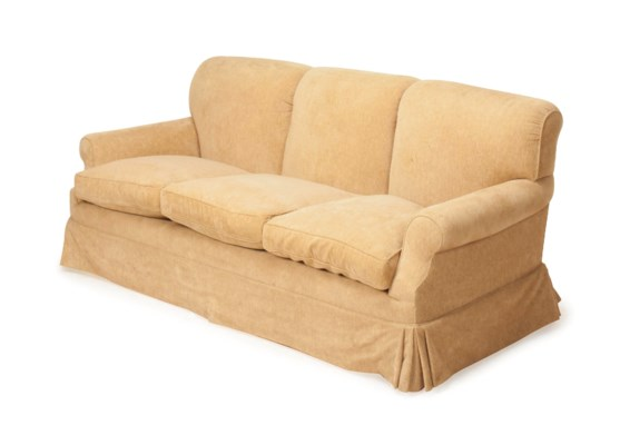 A BEIGE CHENILLE UPHOLSTERED T