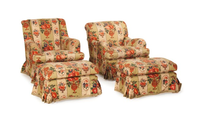 TWO PAIRS OF FLORAL CHINTZ-UPH