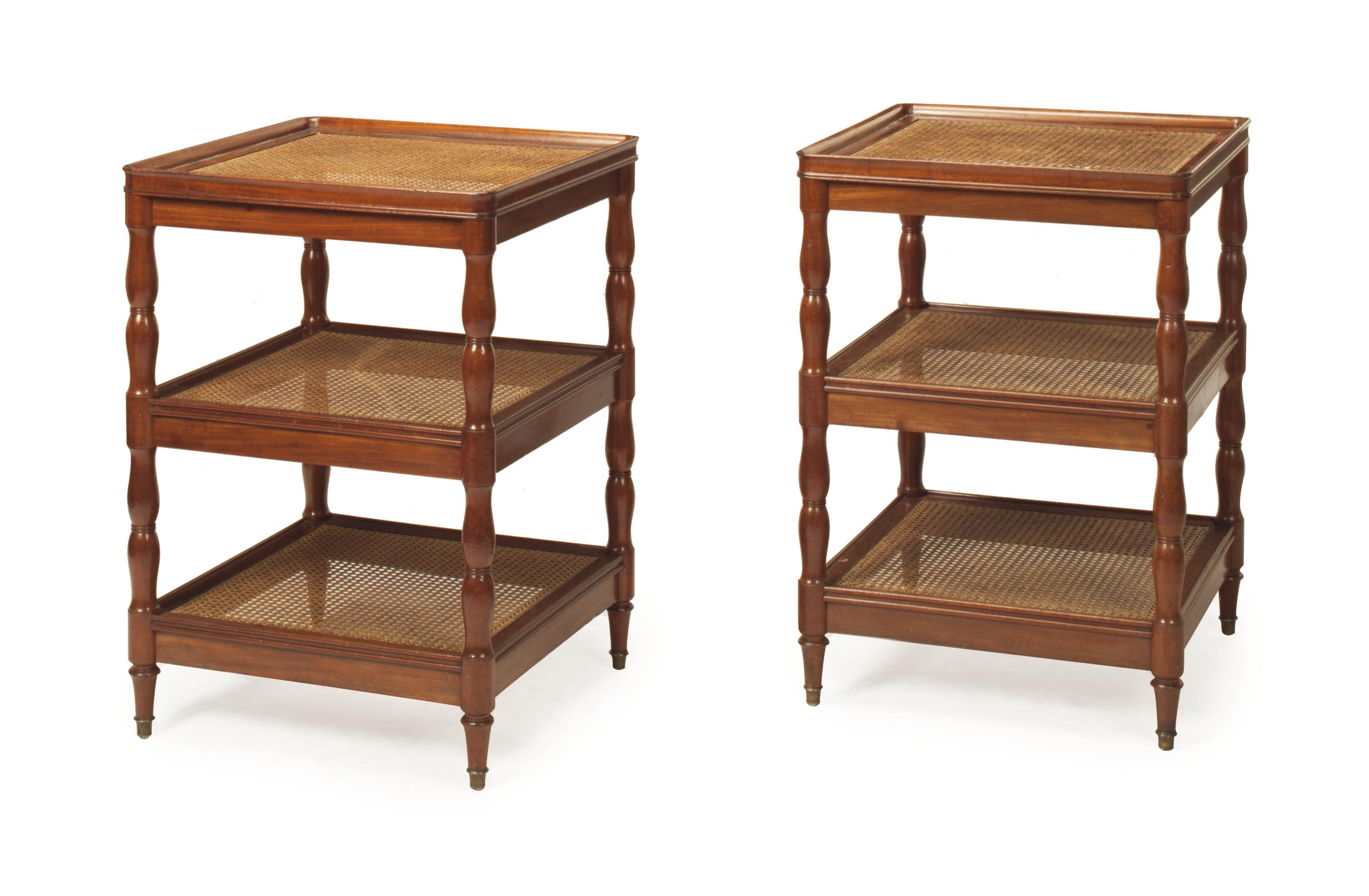 A PAIR OF ENGLISH MAHOGANY CAN