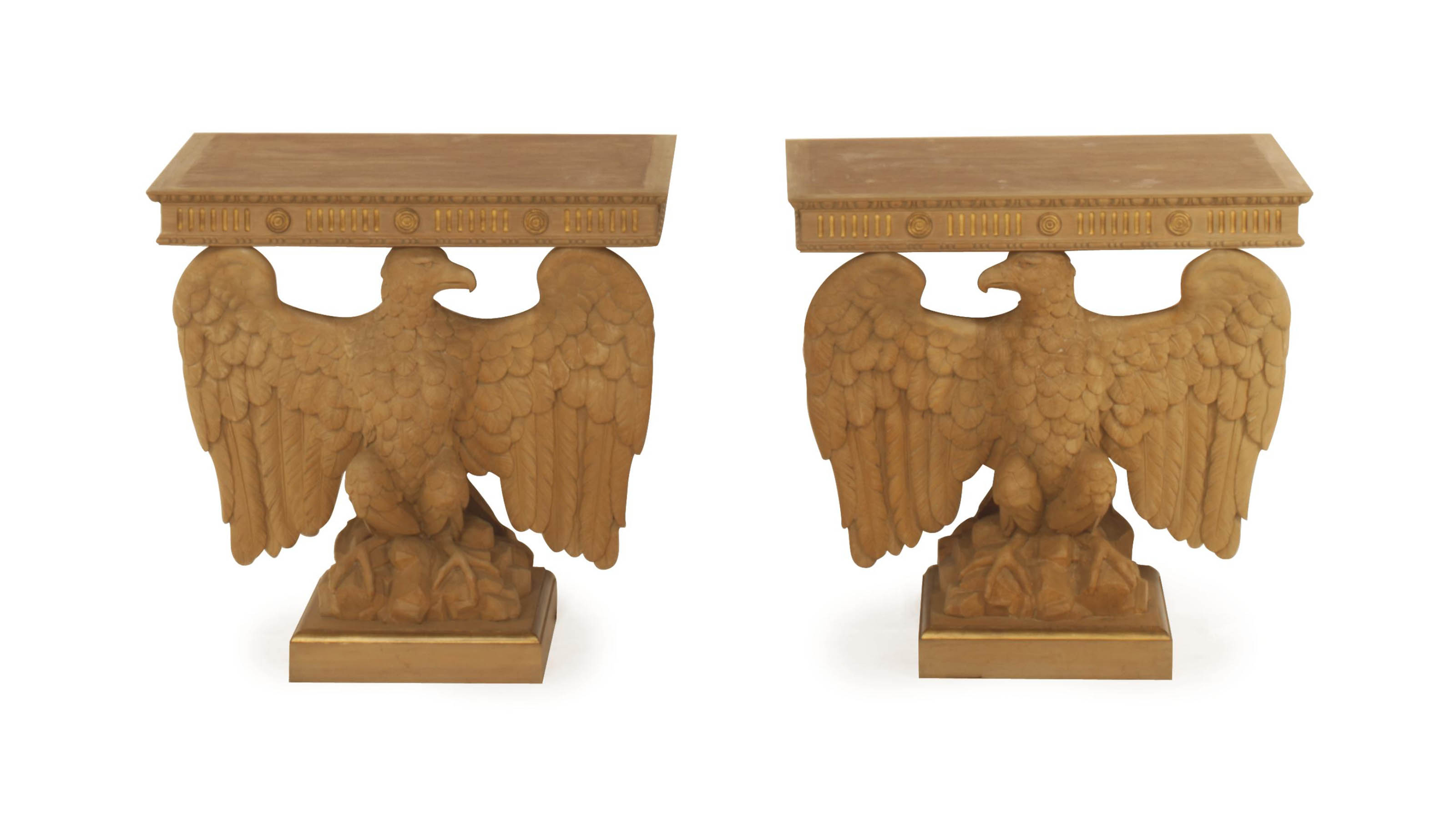 A PAIR OF CARVED PARCEL GILT C